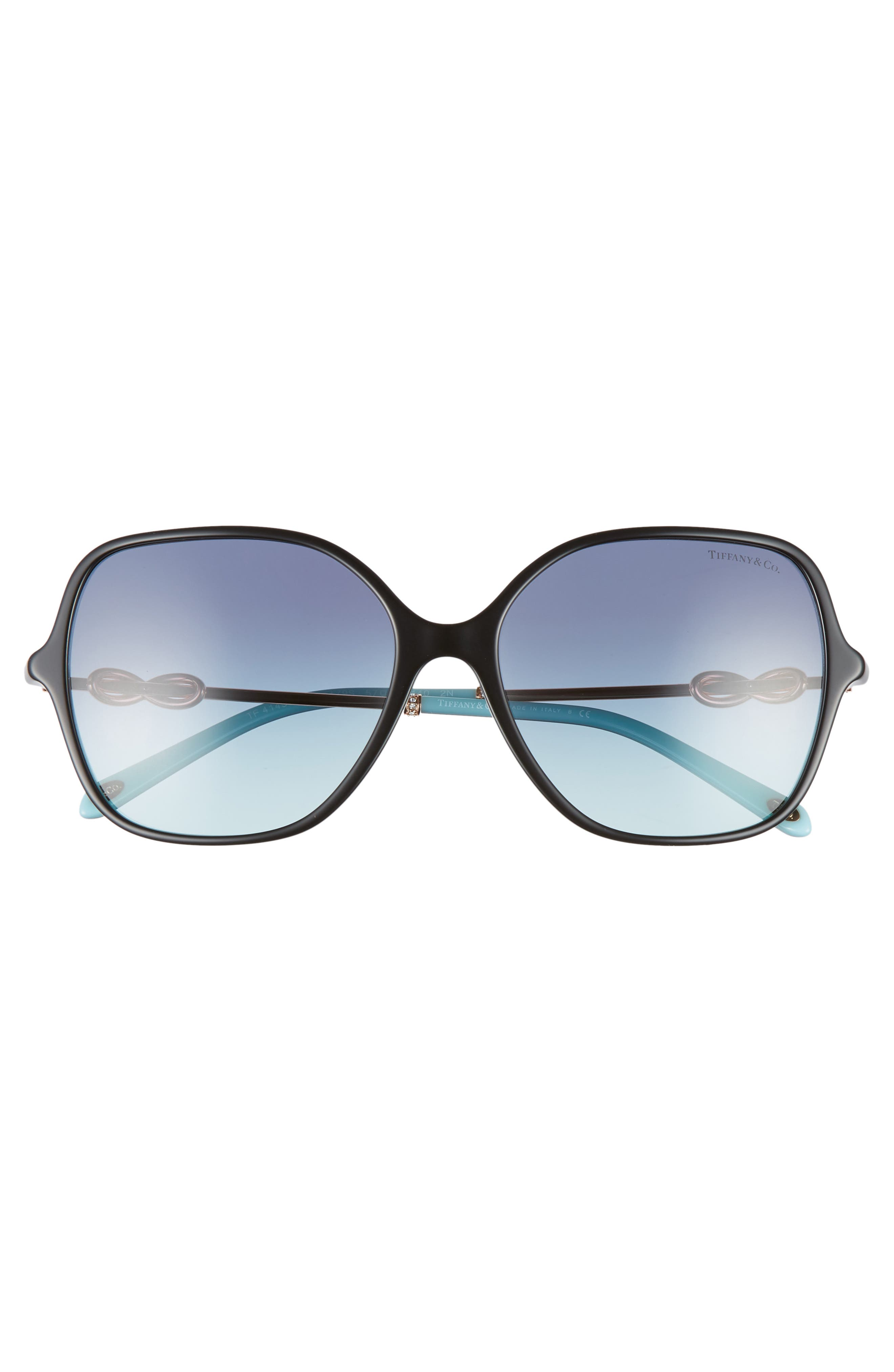 TIFFANY & CO., Tiffany 57mm Sunglasses, Alternate thumbnail 3, color, BLACK/ AZURE GRADIENT