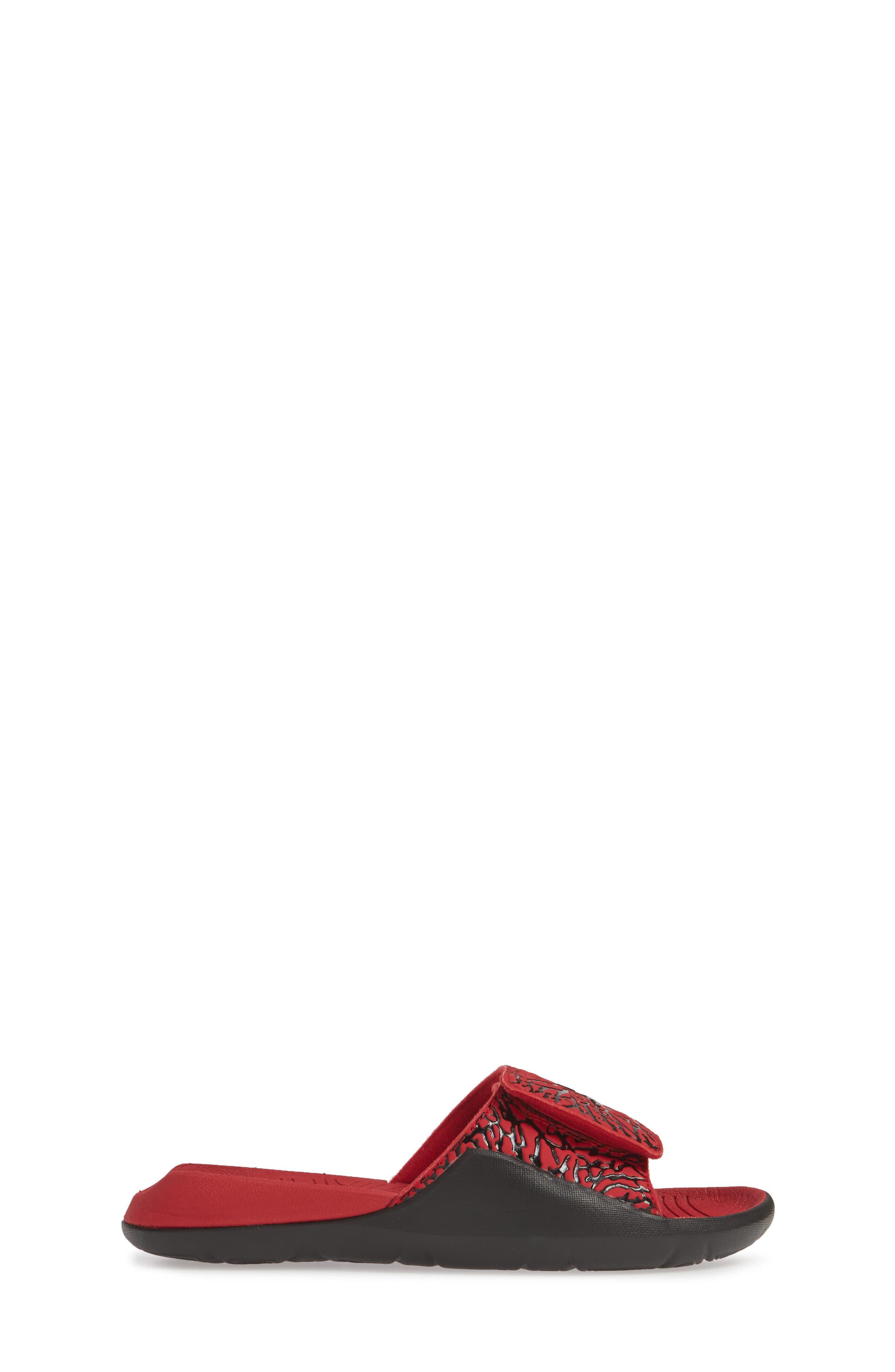 JORDAN, Hydro 7 V2 Sandal, Alternate thumbnail 3, color, GYM RED/ BLACK