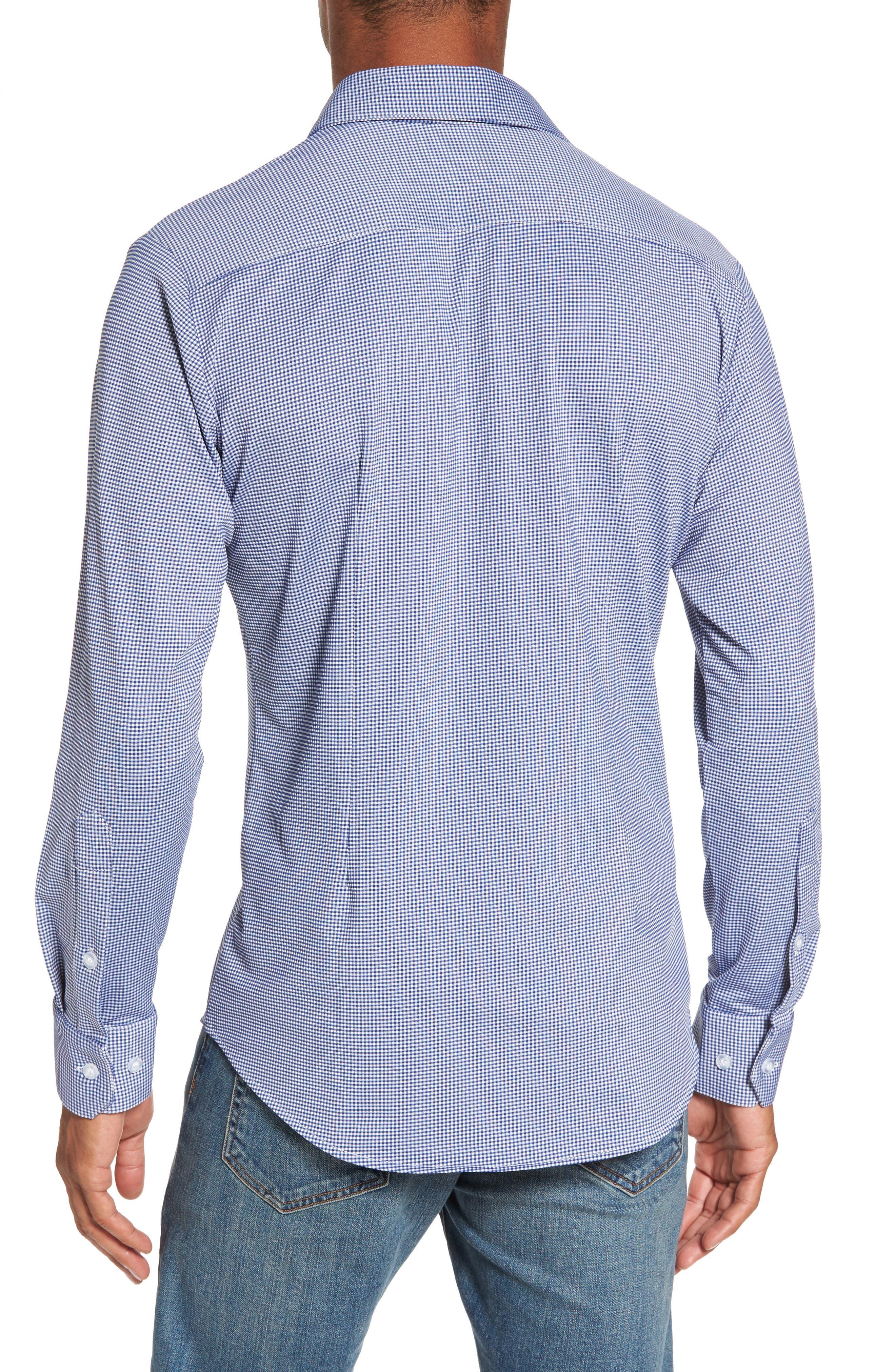 MIZZEN+MAIN, Beckett Trim Fit Gingham Sport Shirt, Alternate thumbnail 2, color, BLUE