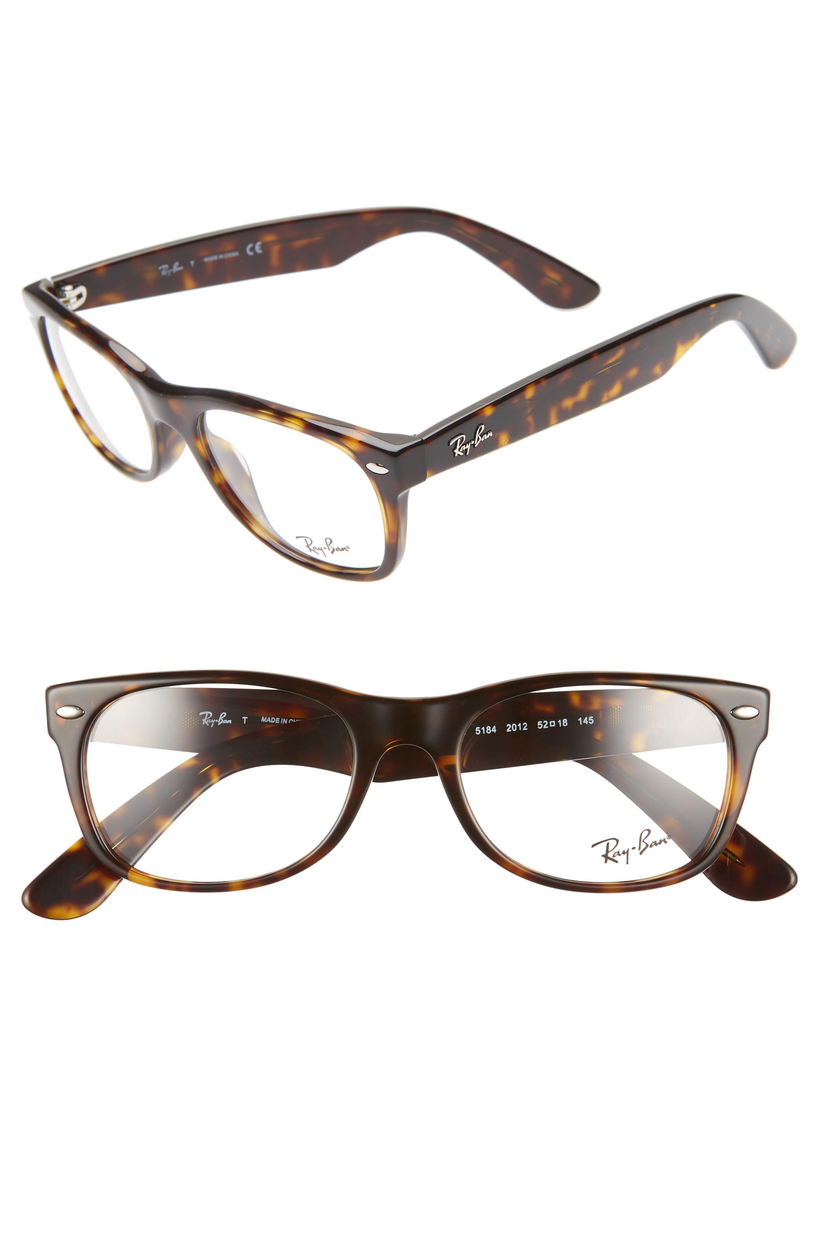 RAY-BAN 52mm Optical Glasses, Main, color, DARK HAVANA