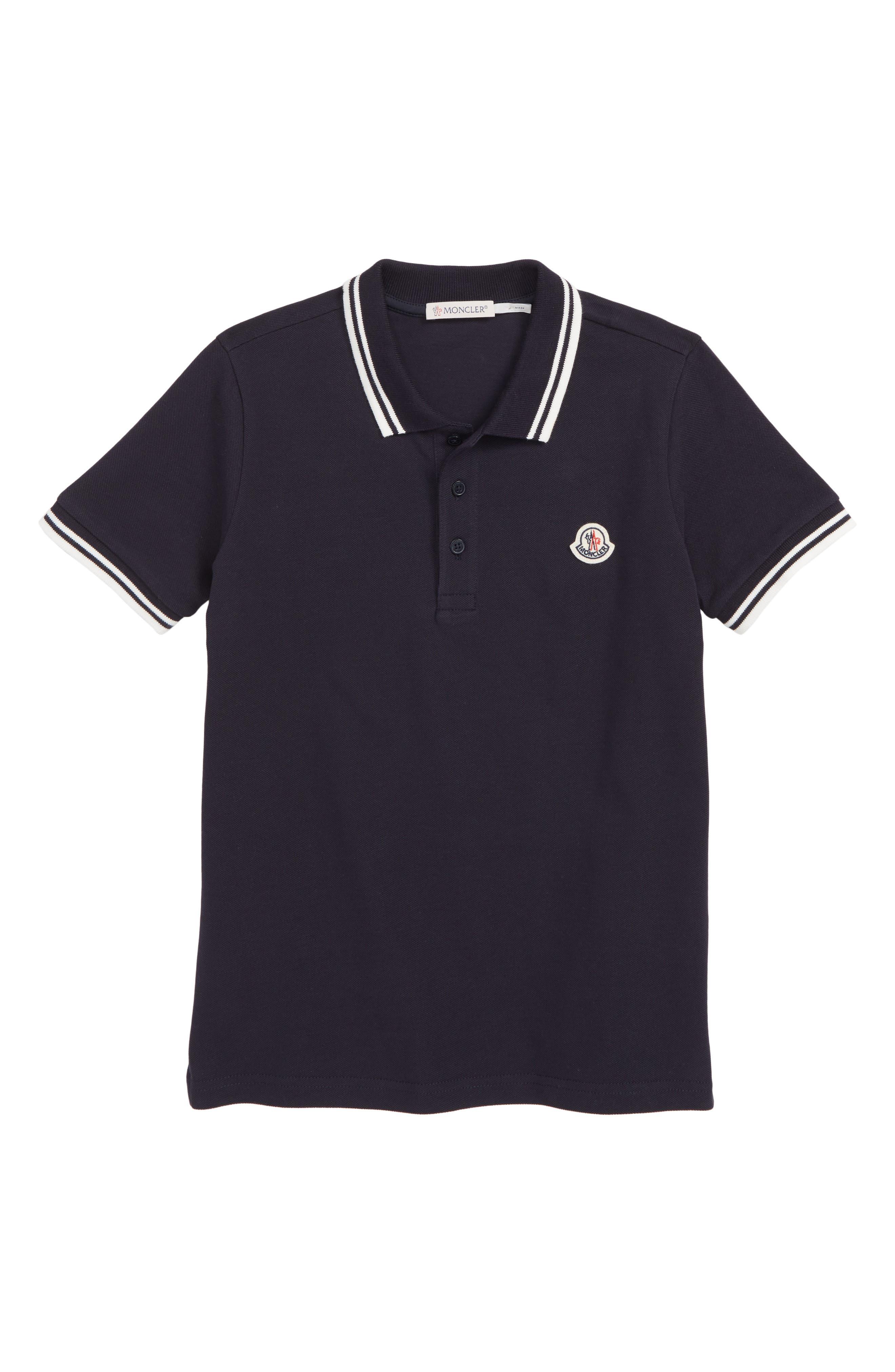 MONCLER Logo Polo, Main, color, MEDIUM BLUE