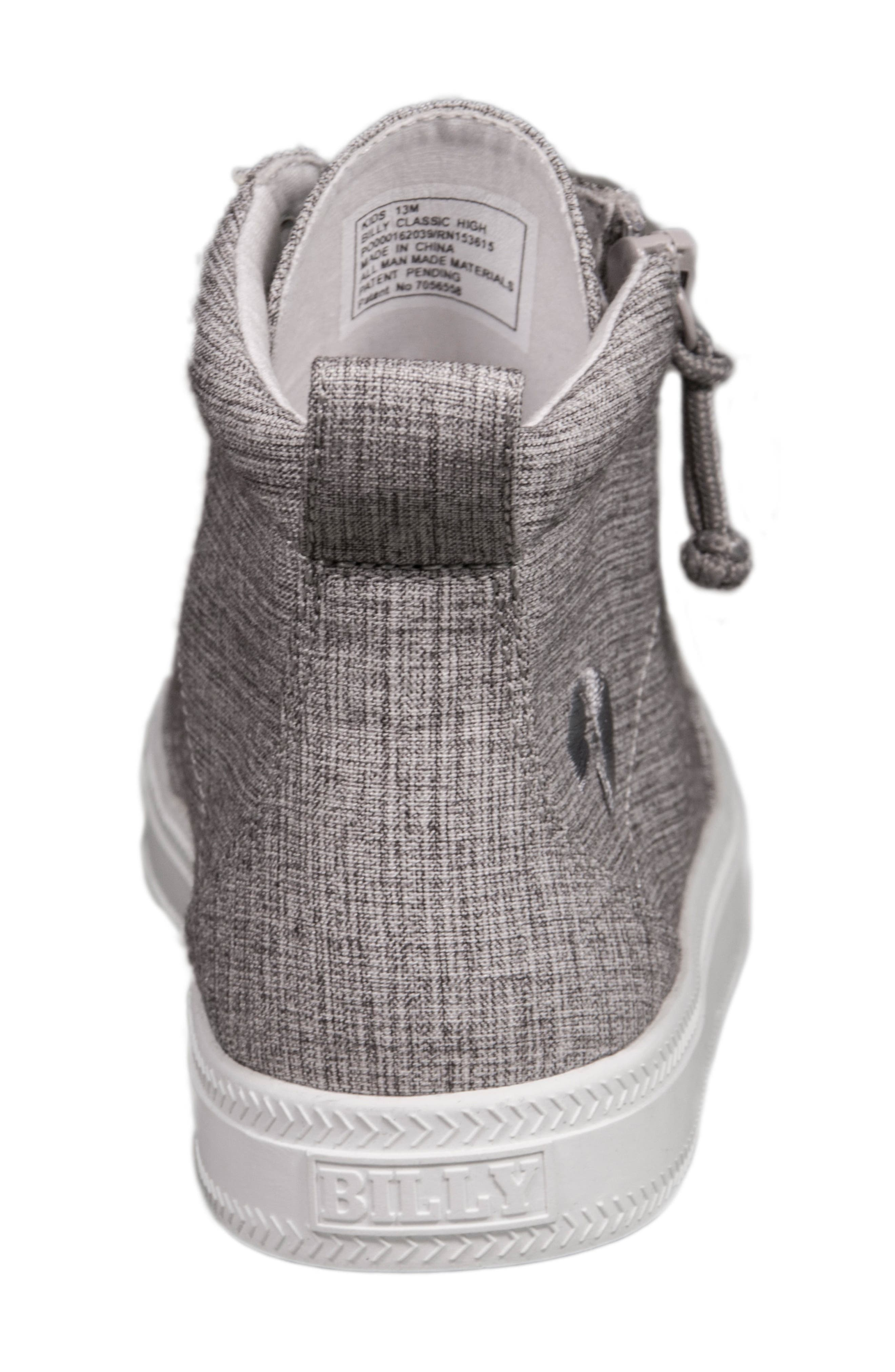 BILLY FOOTWEAR, Zip Around High Top Sneaker, Alternate thumbnail 7, color, GREY JERSEY