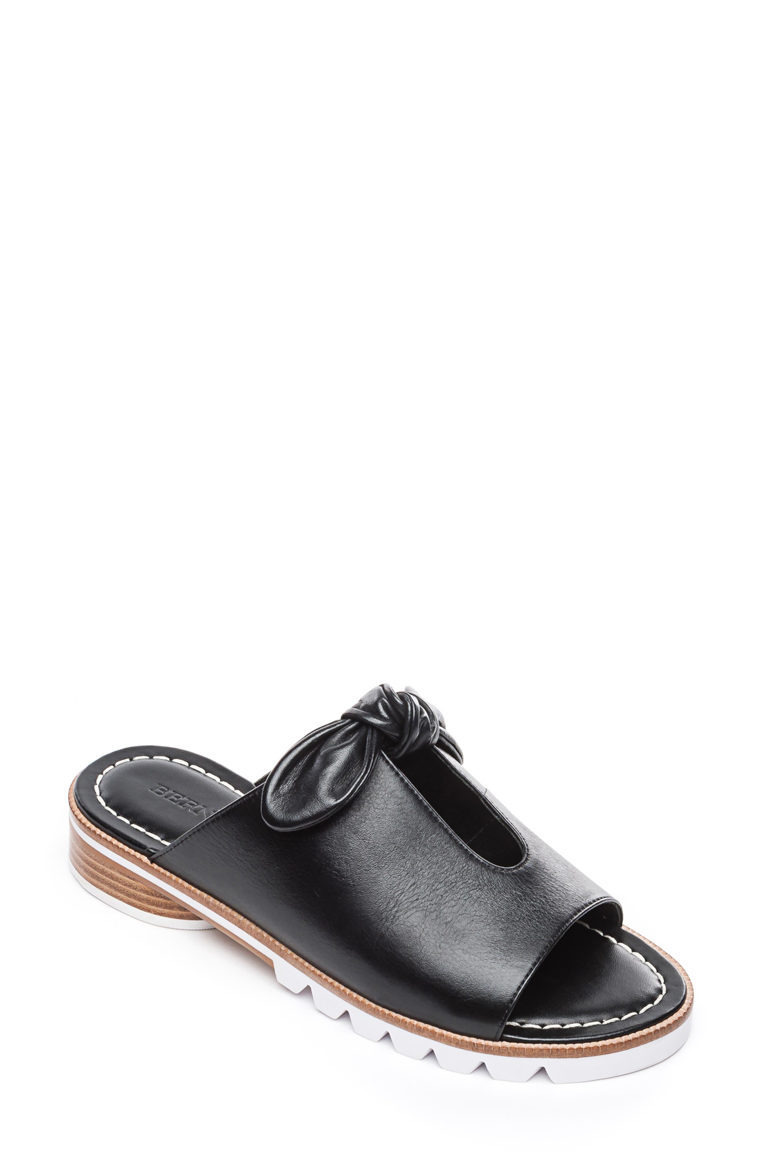 BERNARDO, Alice Bow Slide Sandal, Main thumbnail 1, color, BLACK LEATHER