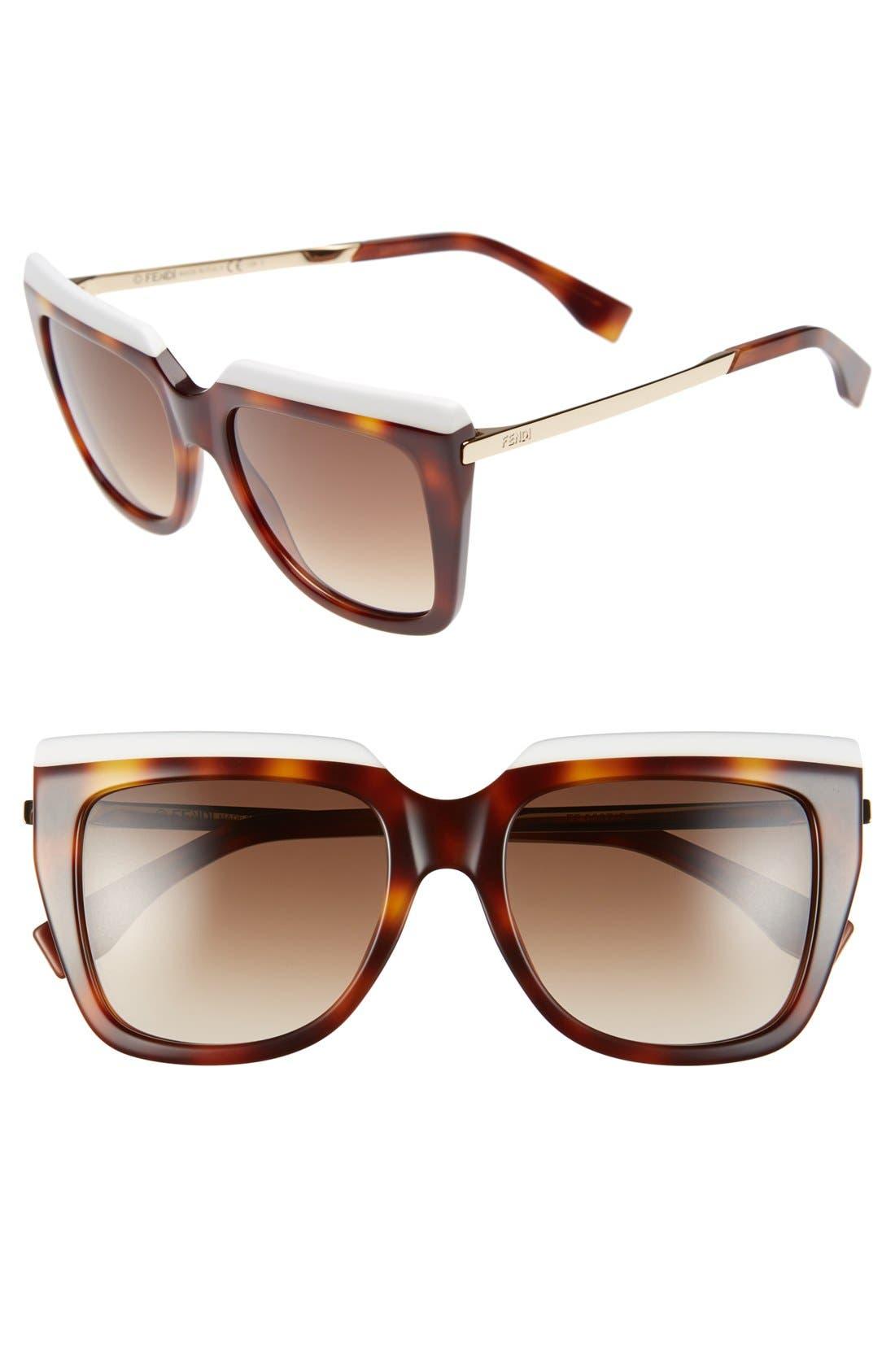 FENDI, 53mm Retro Sunglasses, Main thumbnail 1, color, 100