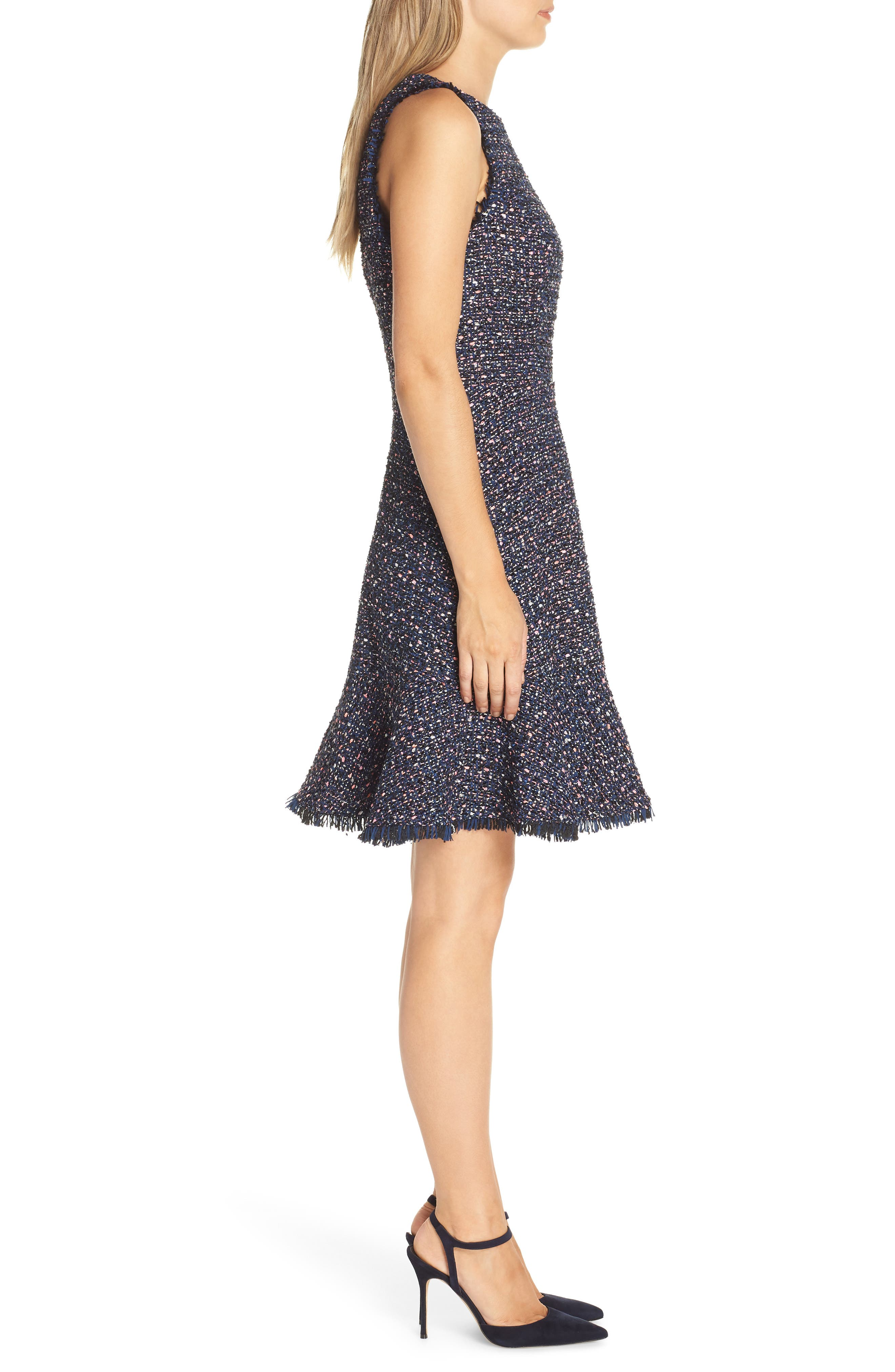ELIZA J, Sleeveless Tweed Fit & Flare Dress, Alternate thumbnail 4, color, NAVY