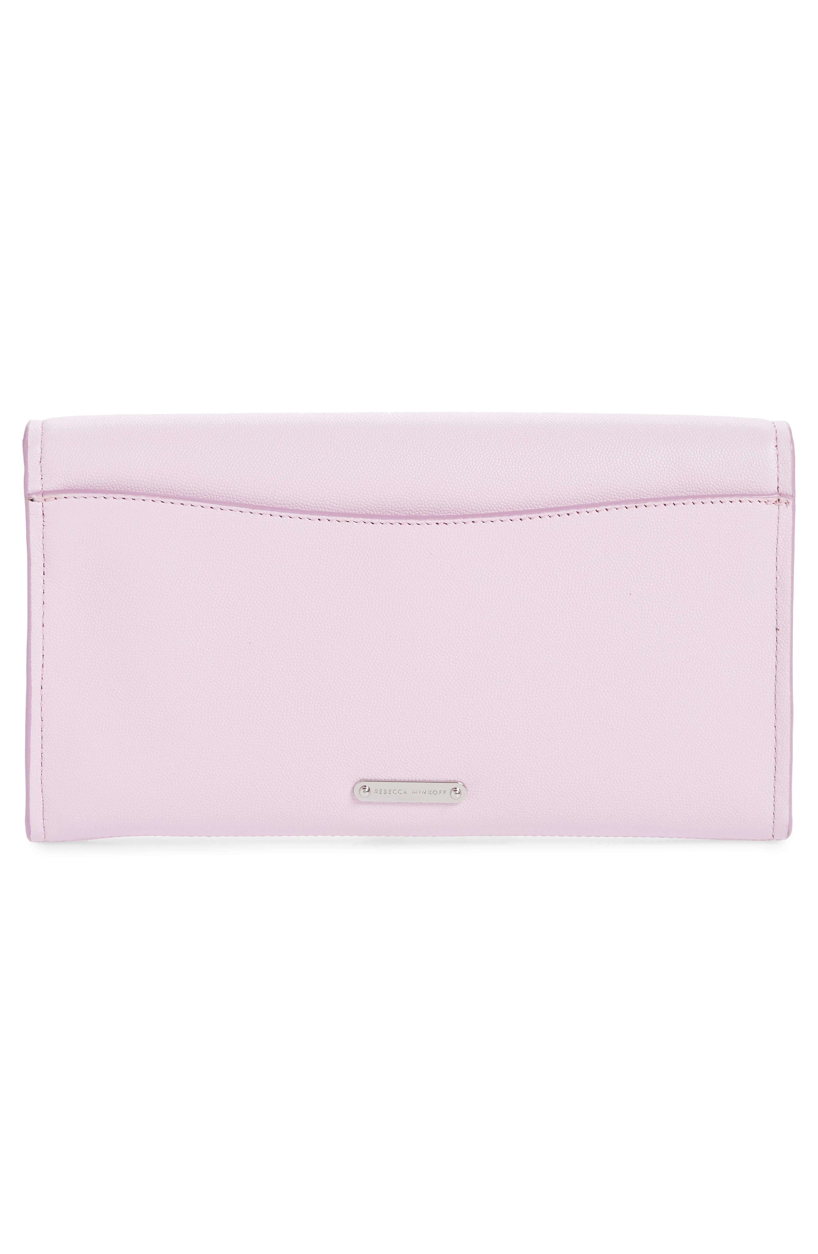 REBECCA MINKOFF, Jean Leather Clutch, Alternate thumbnail 4, color, LIGHT ORCHID