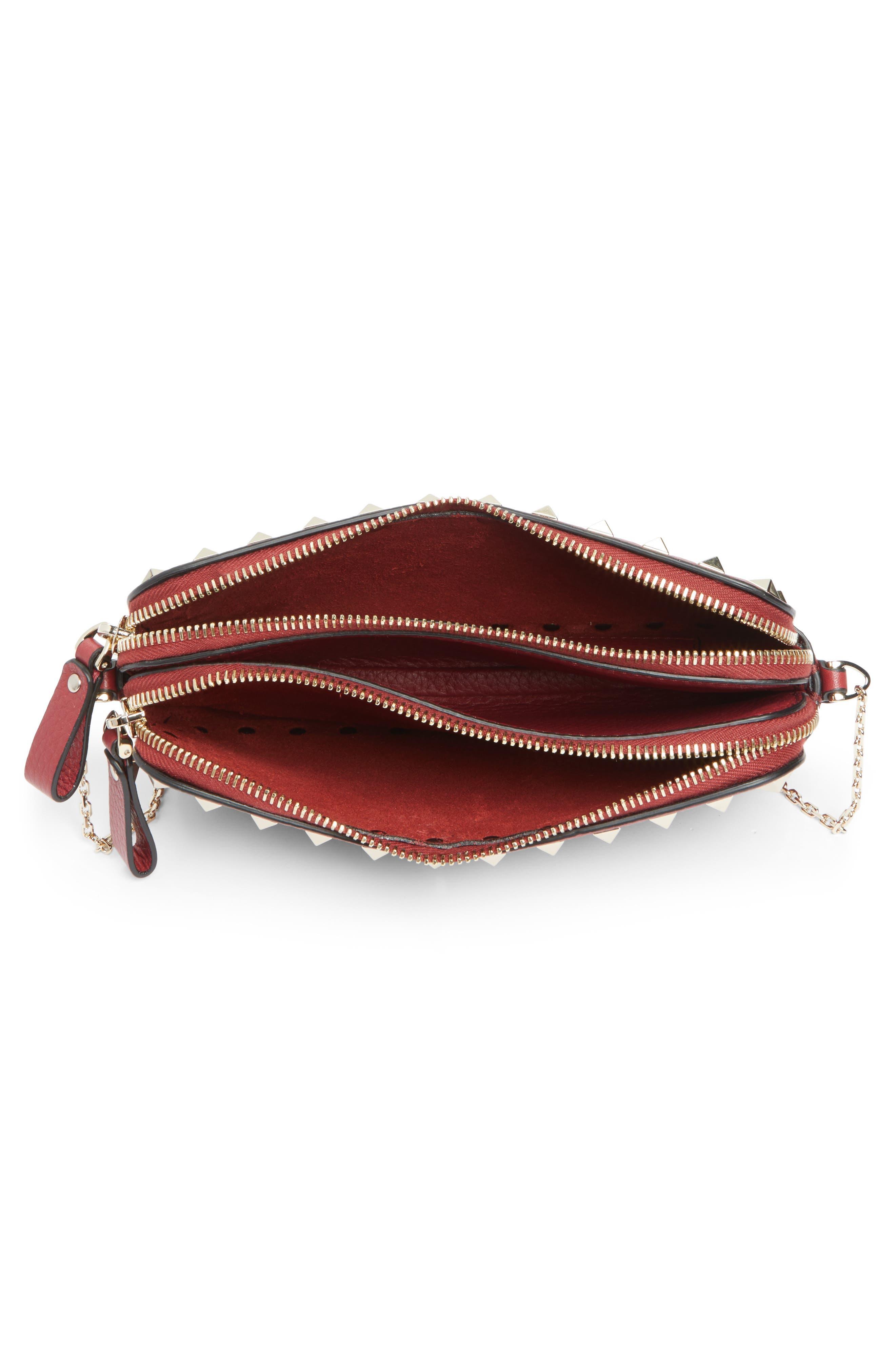 VALENTINO GARAVANI, Rockstud Leather Crossbody Bag, Alternate thumbnail 4, color, RUBIN