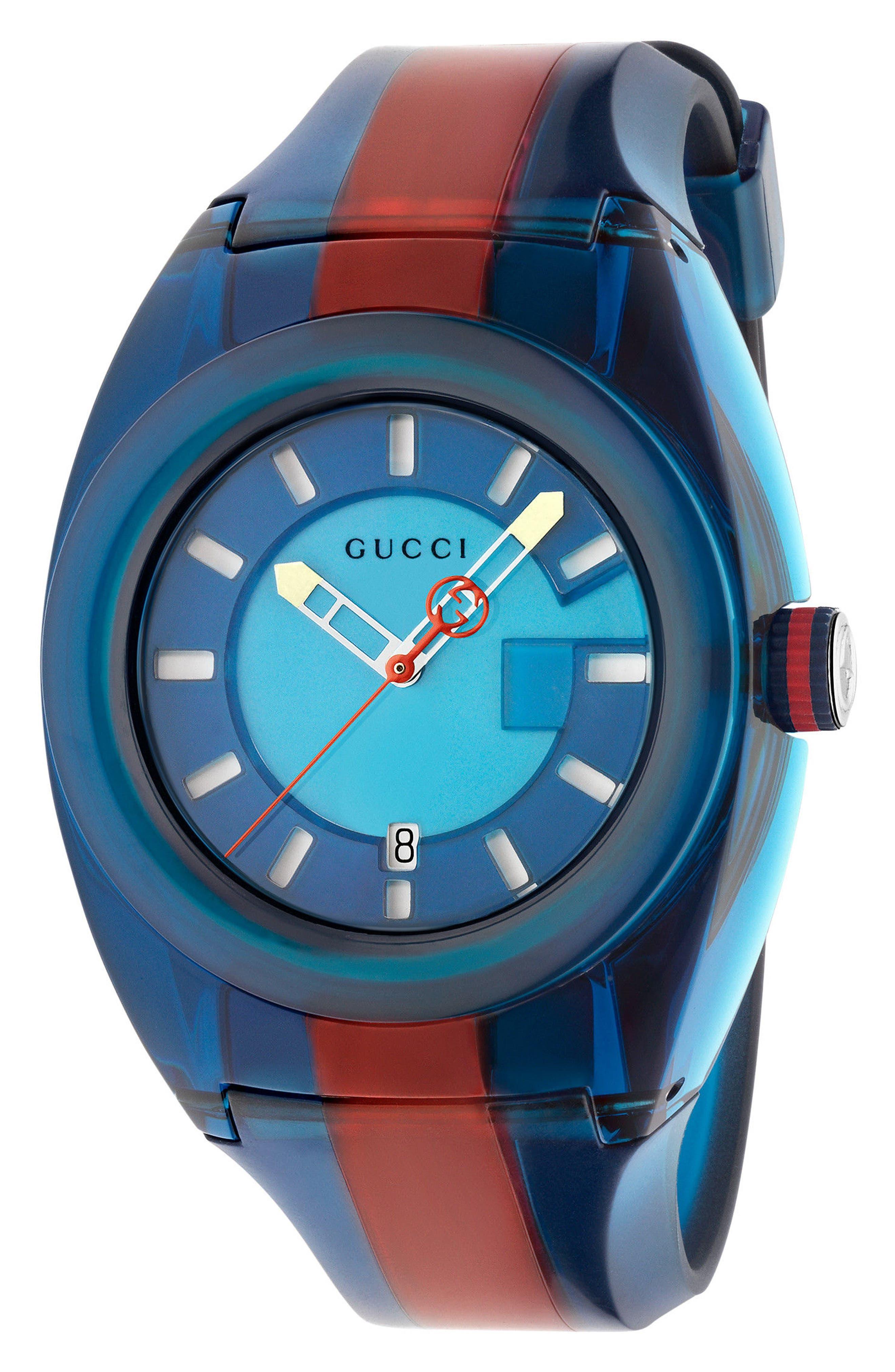 GUCCI, Sync Transparent Rubber Strap Watch, 46mm, Main thumbnail 1, color, BLUE