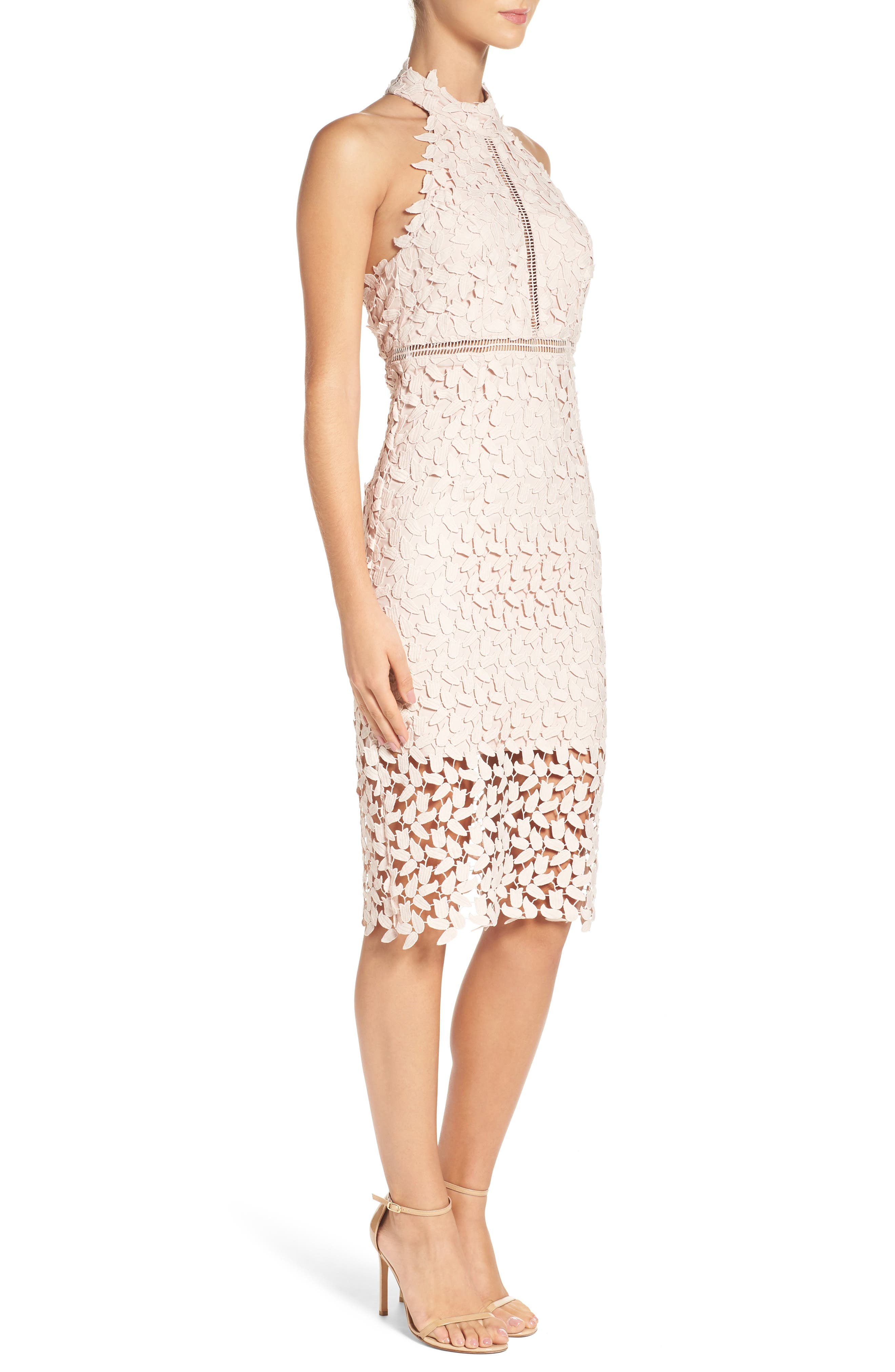BARDOT, Gemma Halter Lace Sheath Dress, Alternate thumbnail 4, color, PROSECCO