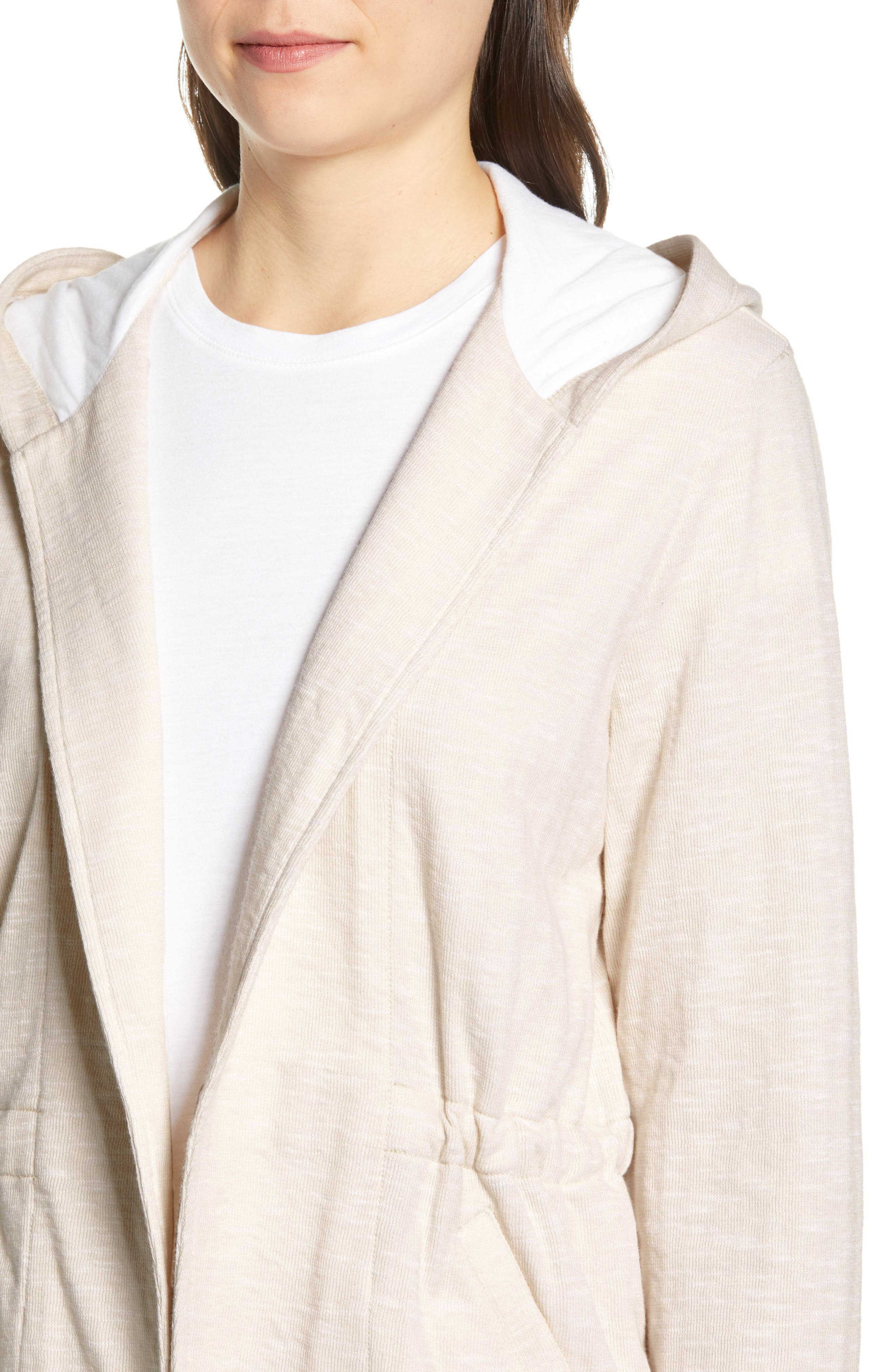 CASLON<SUP>®</SUP>, Open Front Hooded Cardigan, Alternate thumbnail 5, color, BEIGE- WHITE SPACEDYE