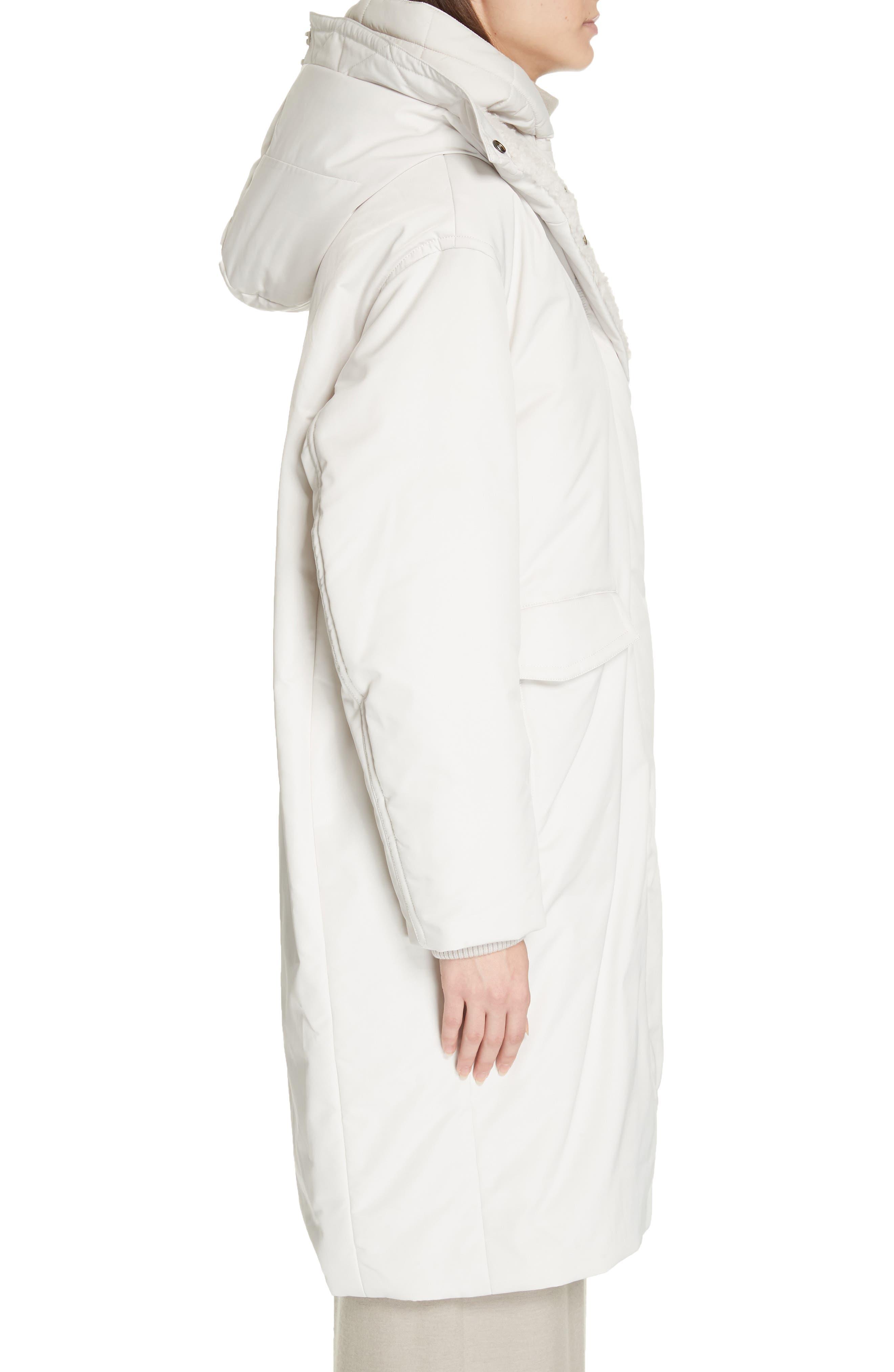 VINCE, Faux Fur Trim Puffer Coat, Alternate thumbnail 3, color, LUCITE