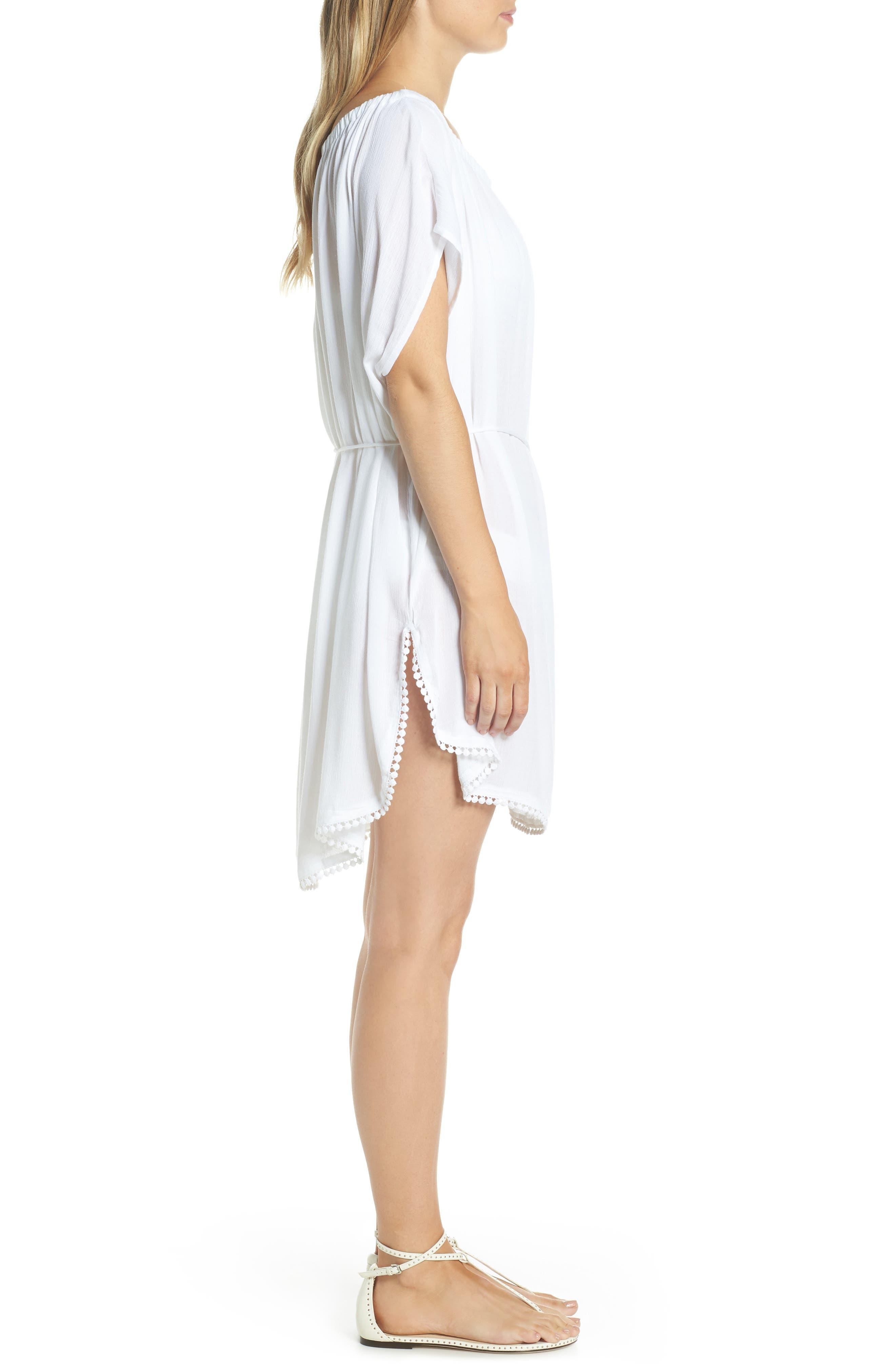 ECHO, Seaside Cover-Up Dress, Alternate thumbnail 4, color, WHITE