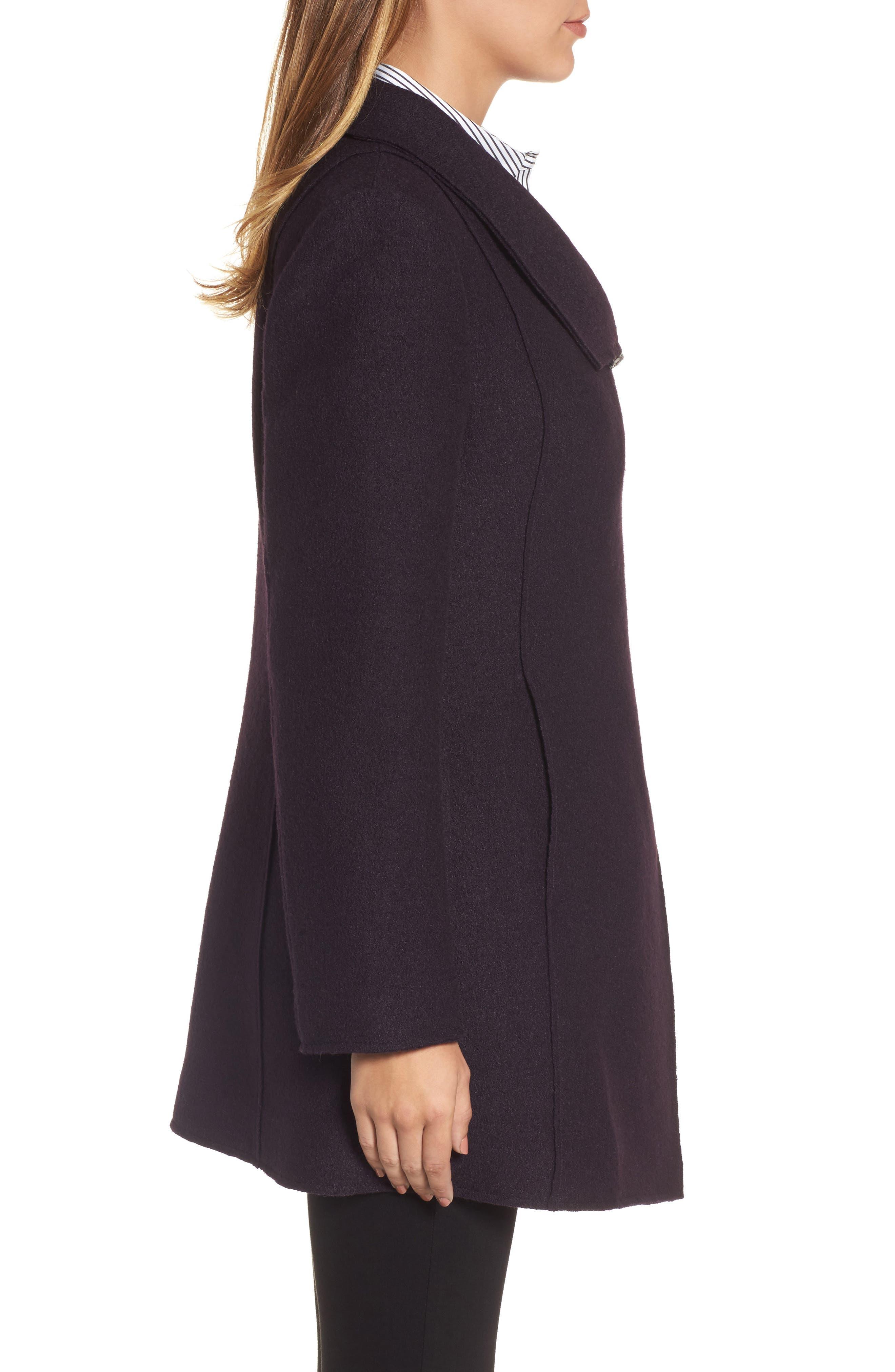 HALOGEN<SUP>®</SUP>, Asymmetrical Zip Boiled Wool Blend Coat, Alternate thumbnail 4, color, 500