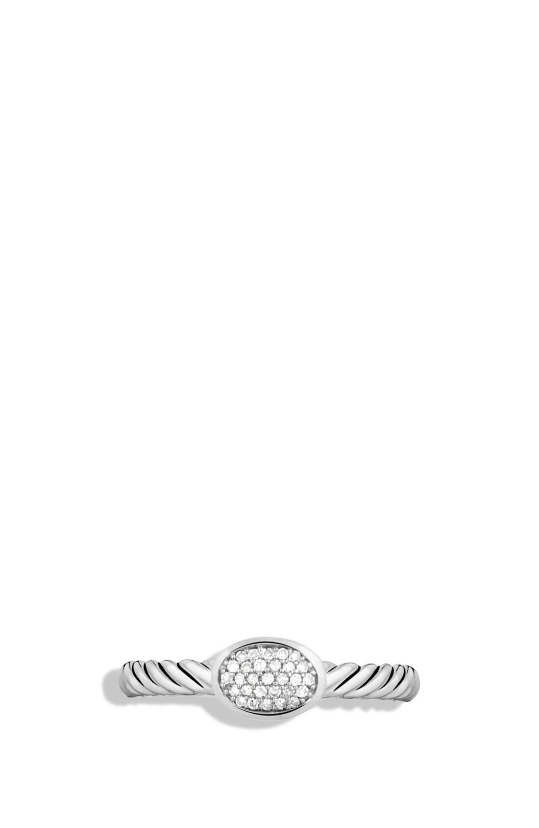 DAVID YURMAN, 'Cable Collectibles' Oval Ring with Diamonds, Alternate thumbnail 6, color, DIAMOND