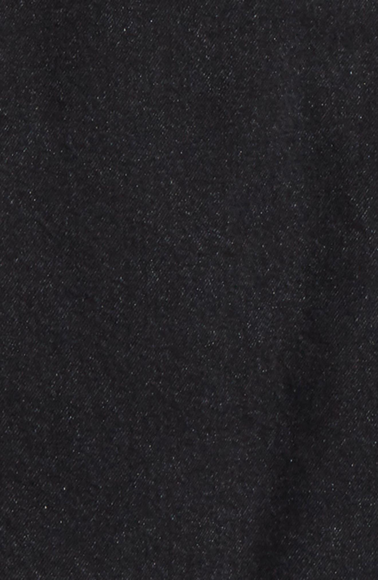 JUUN.J, Denim Shirt with Detachable Hood, Alternate thumbnail 7, color, BLACK