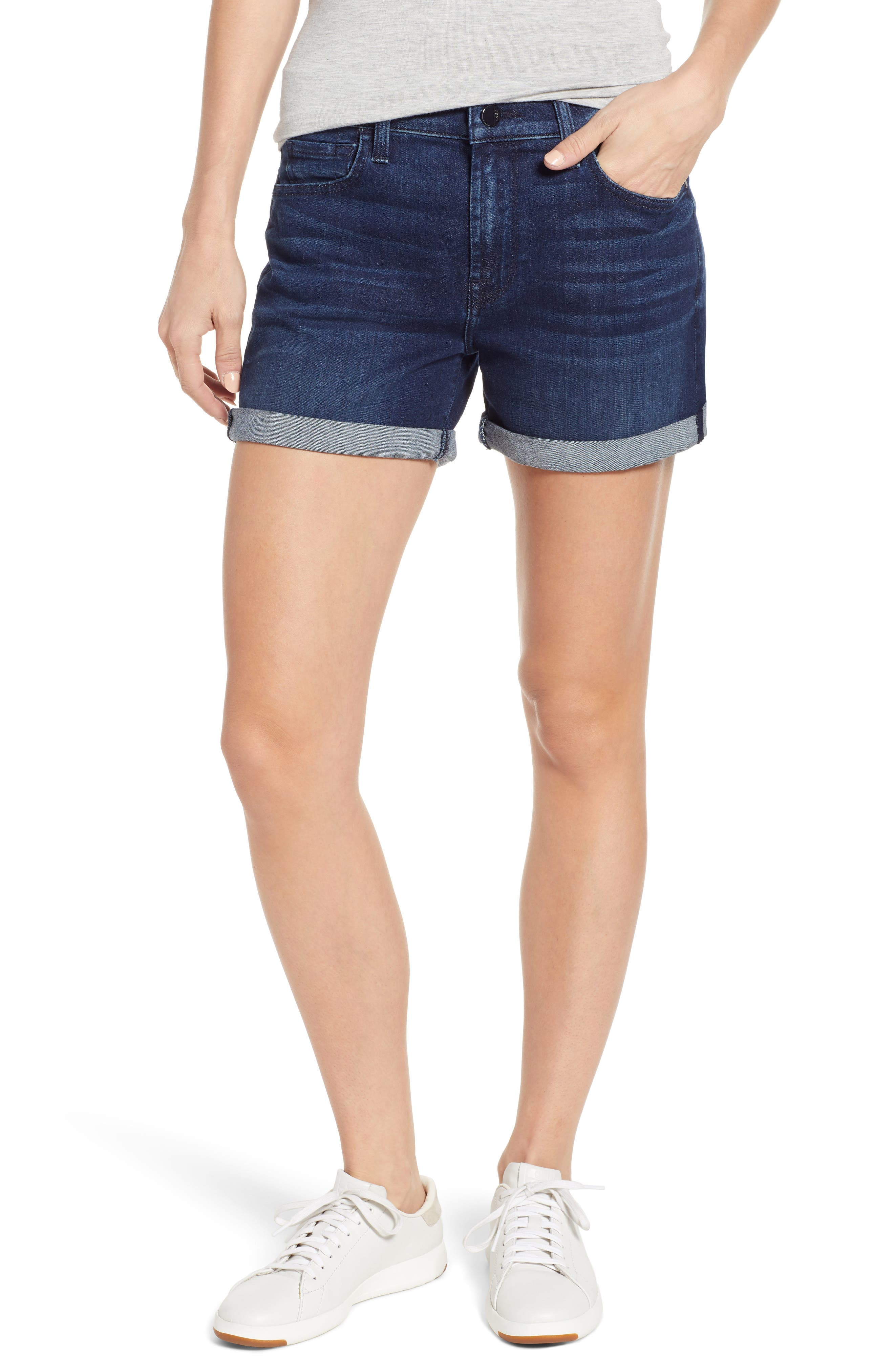 JEN7 BY 7 FOR ALL MANKIND Roll Cuff Denim Shorts, Main, color, IMPERIAL INDIGO