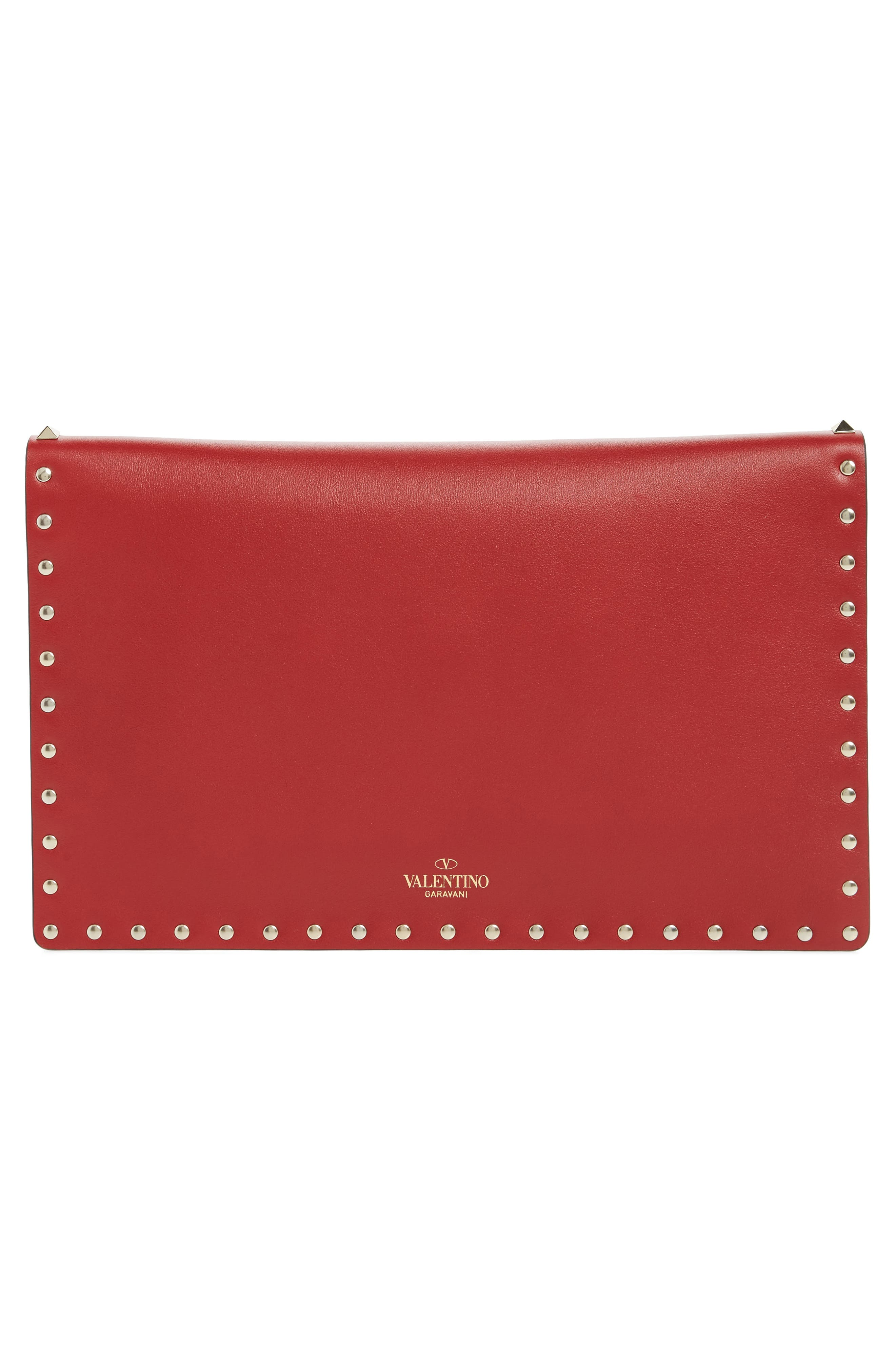 VALENTINO GARAVANI, Large Rockstud Calfskin Leather Envelope Pouch, Alternate thumbnail 3, color, PURE BLUE/ LIGHT IVORY/ ROSSO
