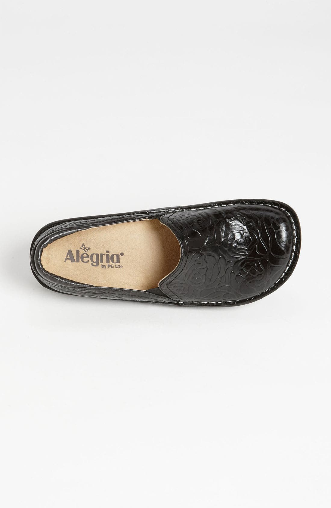 ALEGRIA, 'Debra' Slip-On, Alternate thumbnail 3, color, BLACK EMBOSSED ROSE LEATHER