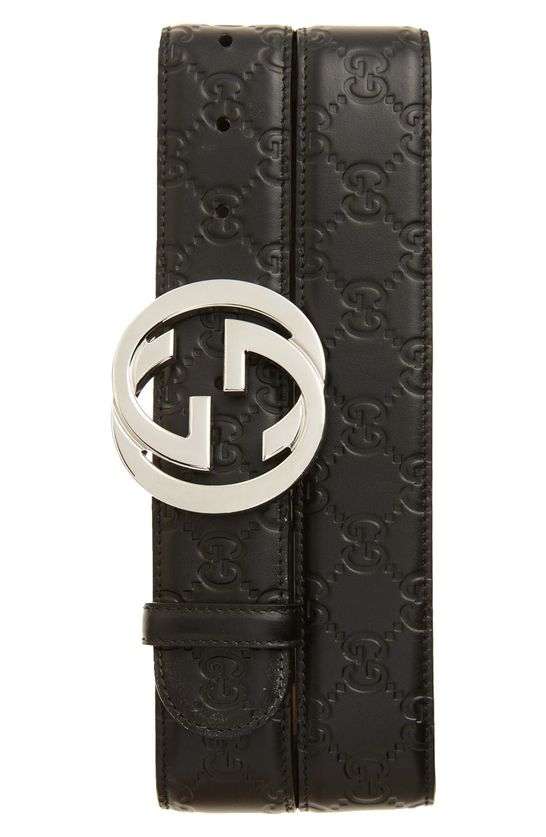 GUCCI Logo Embossed Leather Belt, Main, color, BLACK