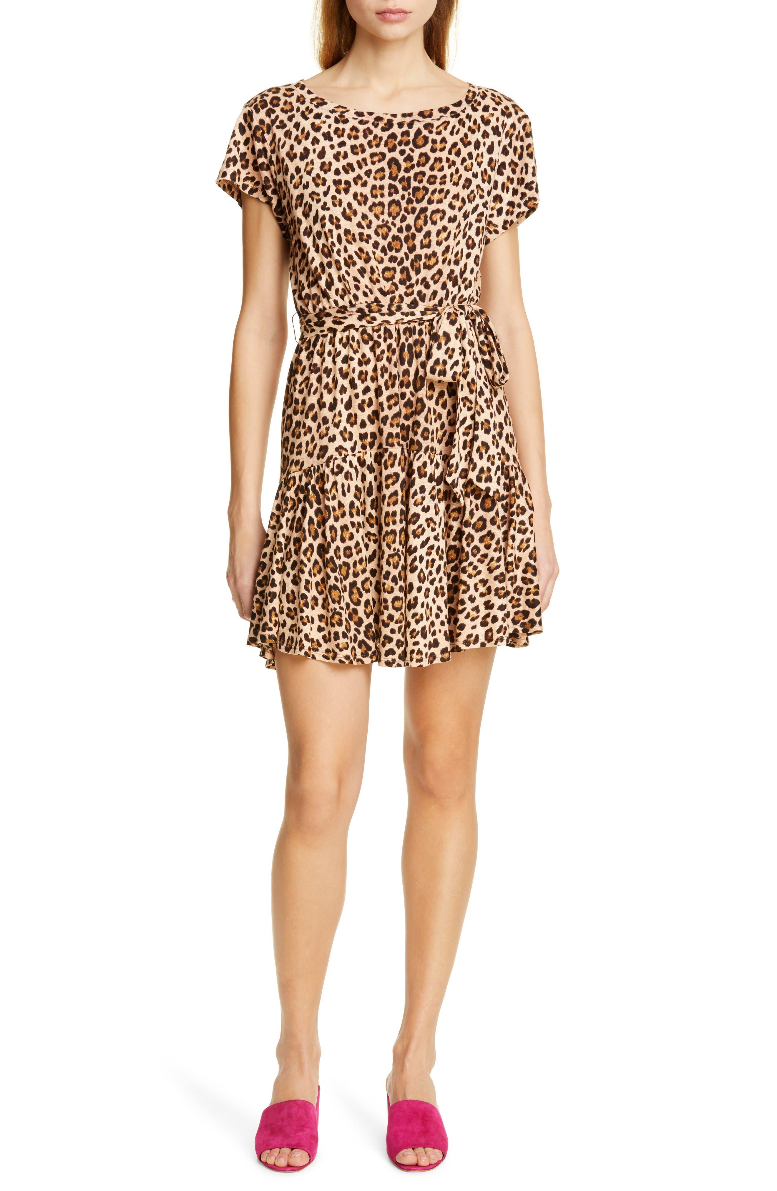 REBECCA TAYLOR, Leopard Print Linen Minidress, Main thumbnail 1, color, BISCUIT