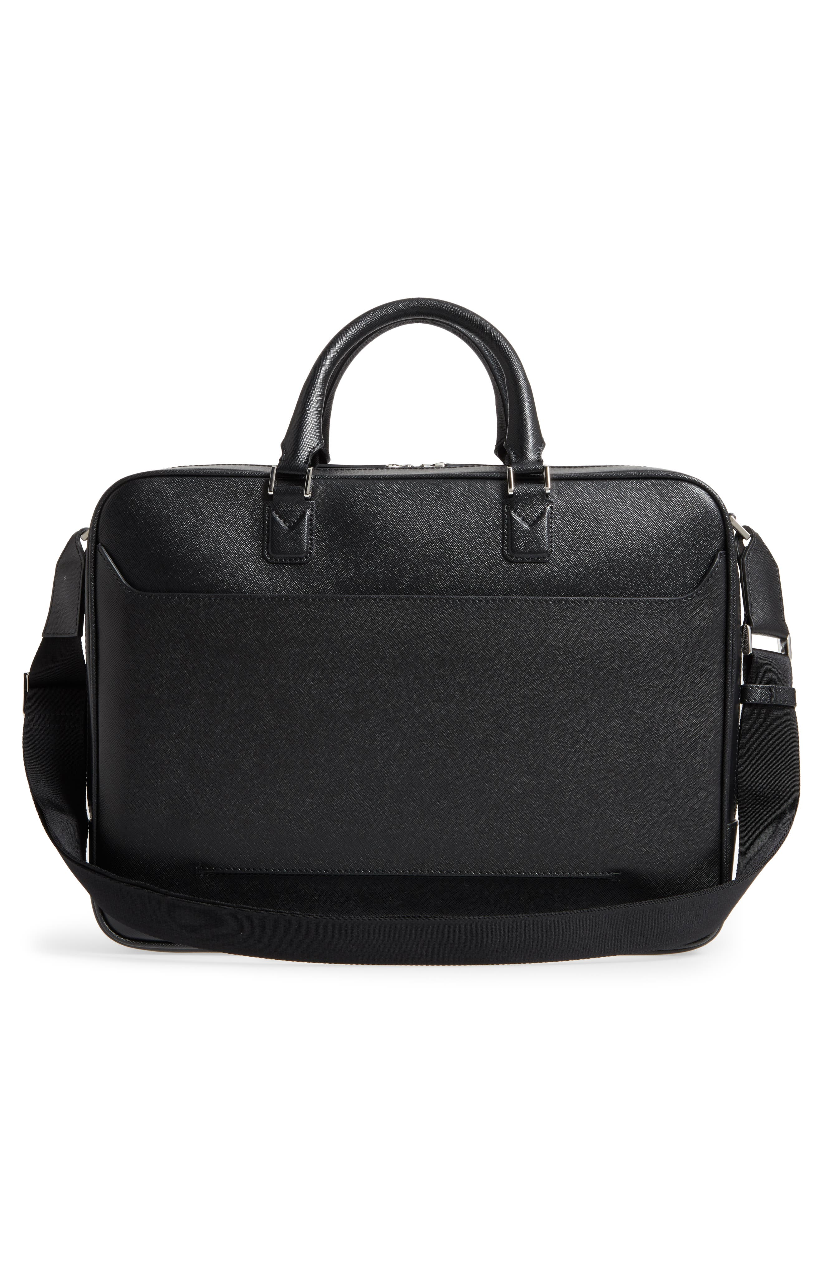 MONTBLANC, Sartorial Leather Briefcase, Alternate thumbnail 3, color, 001