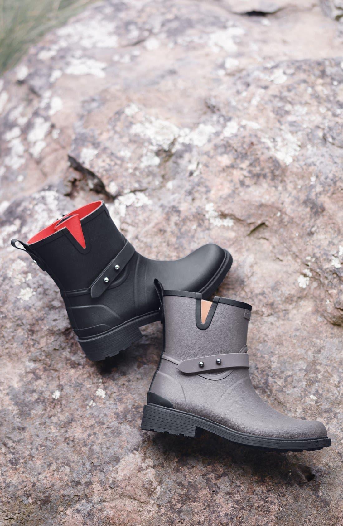 RAG & BONE, Moto Rain Boot, Alternate thumbnail 6, color, BLACK RUBBER