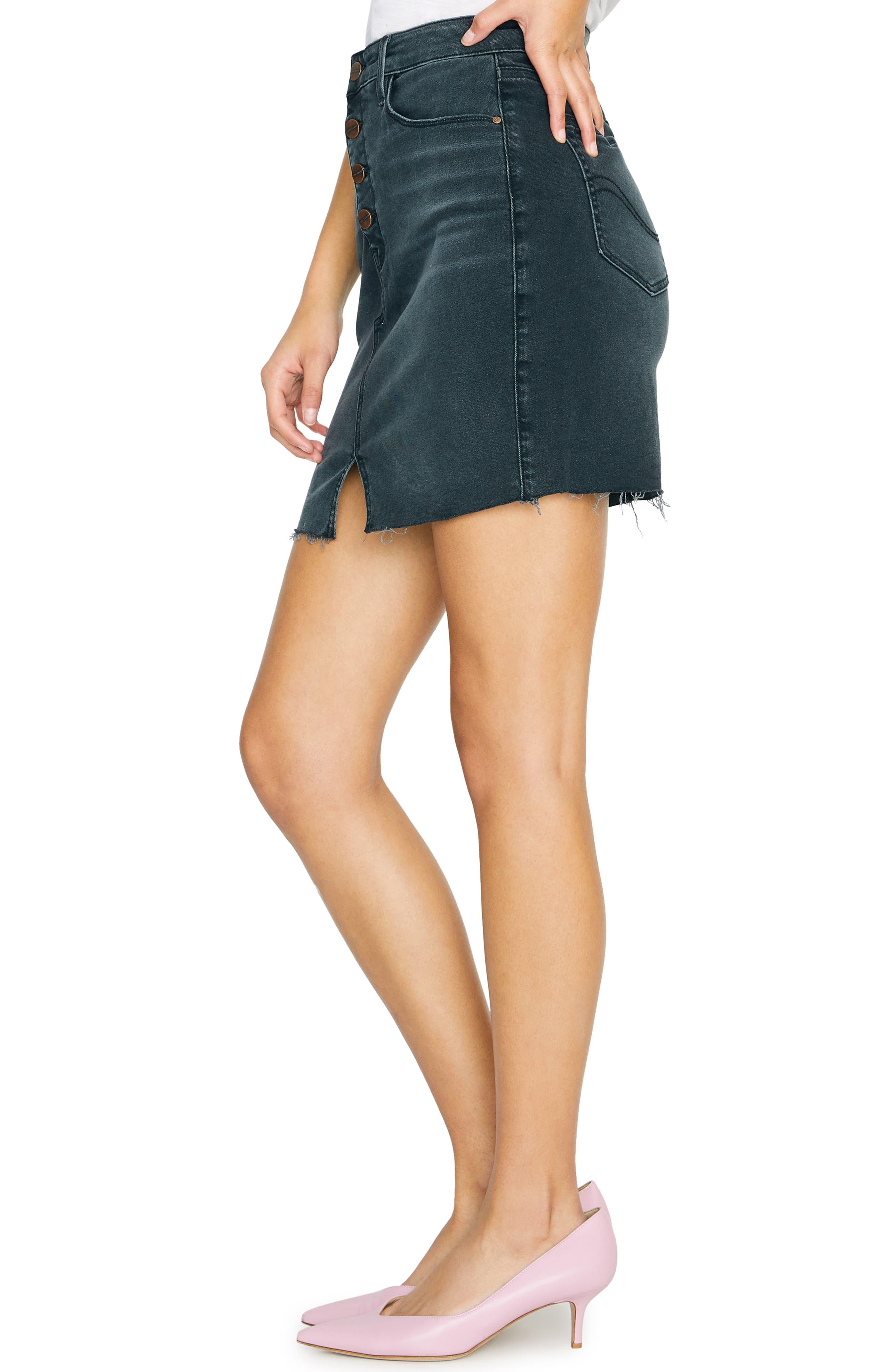 SANCTUARY, Raw Edge Denim Miniskirt, Alternate thumbnail 3, color, ECHO BLACK