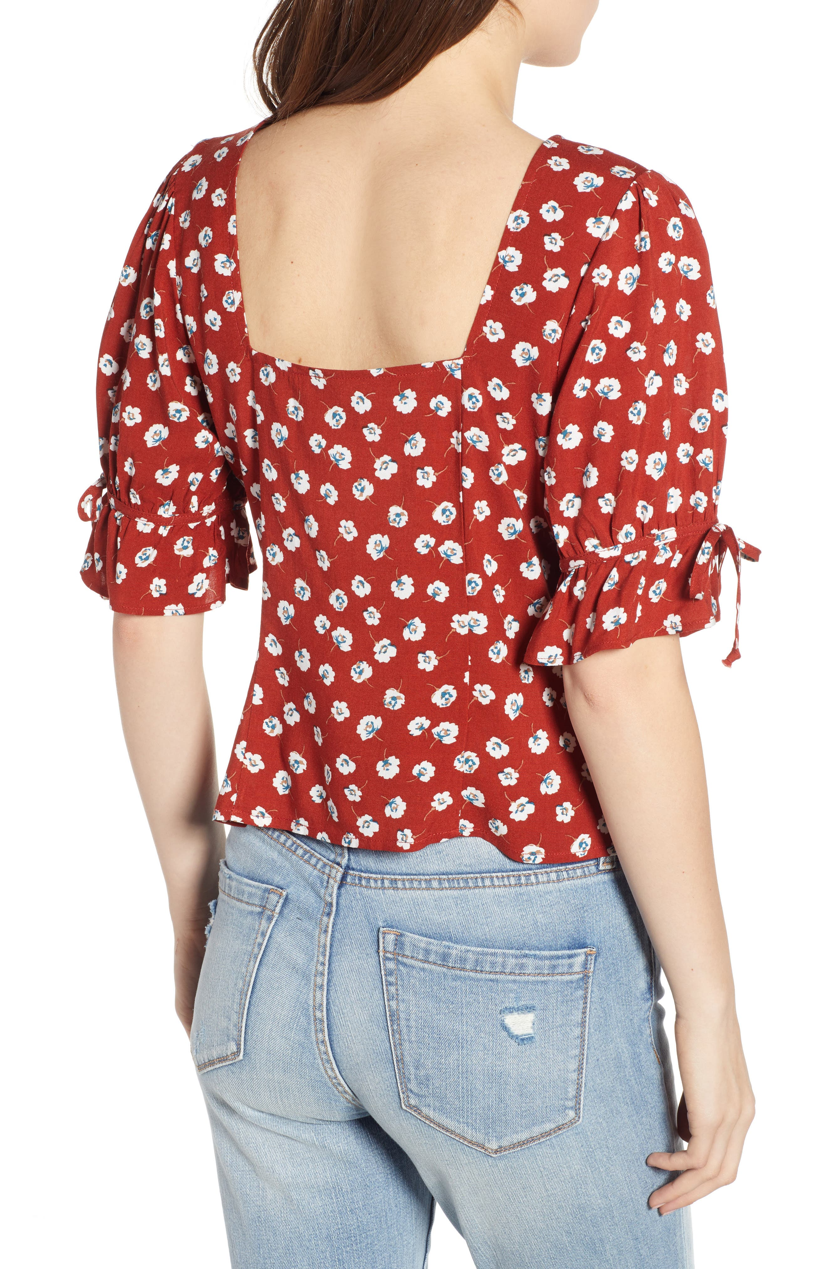 ROW A, Tie Sleeve Top, Alternate thumbnail 2, color, RED FLORAL