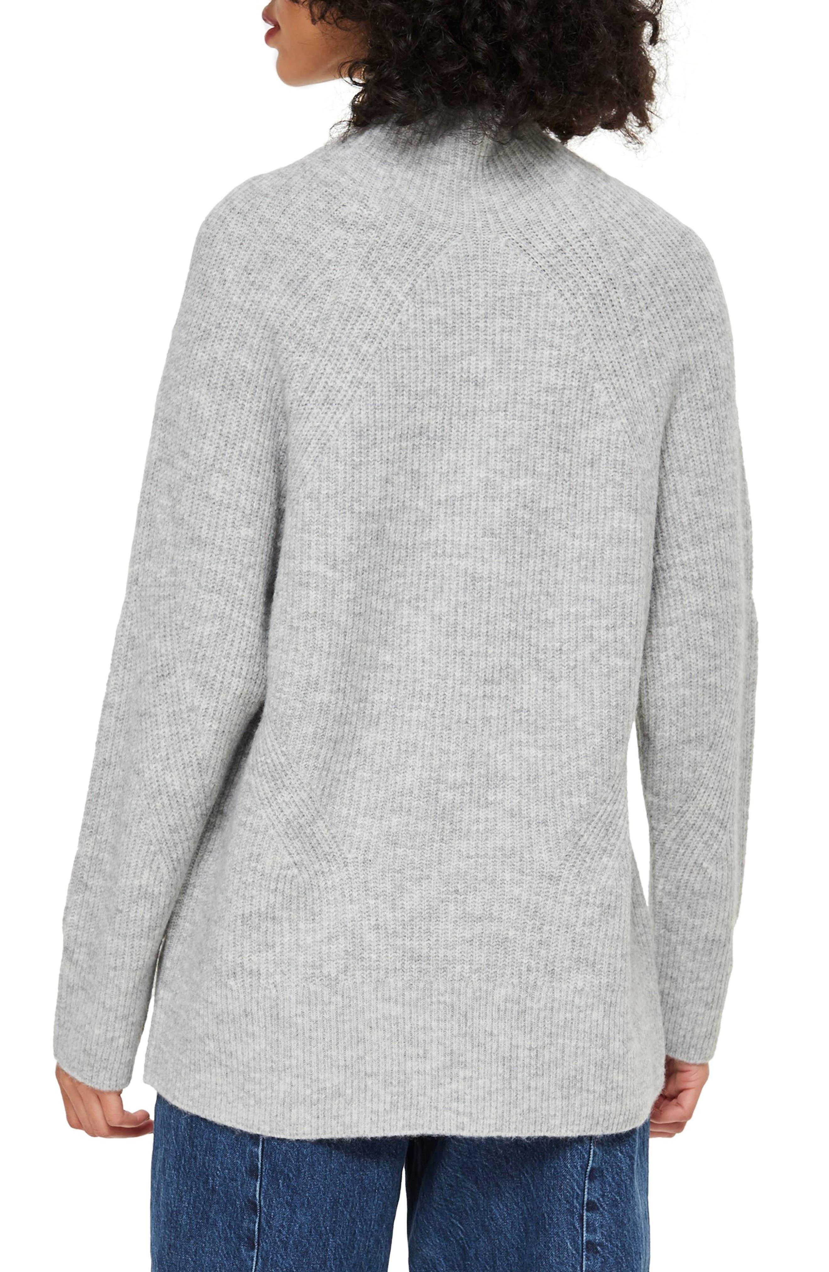 TOPSHOP, Raglan Turtleneck Neck Sweater, Alternate thumbnail 2, color, GREY MARL