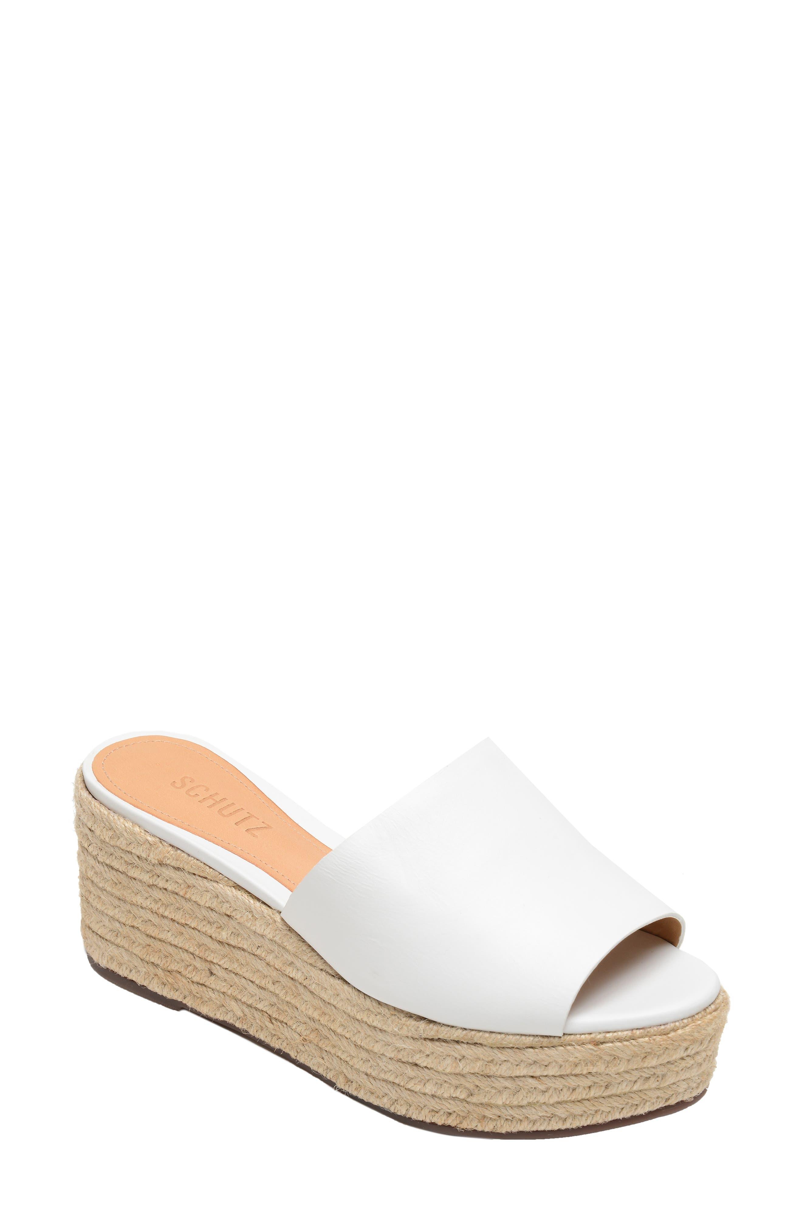 SCHUTZ, Thalia Platform Wedge Slide Sandal, Main thumbnail 1, color, WHITE