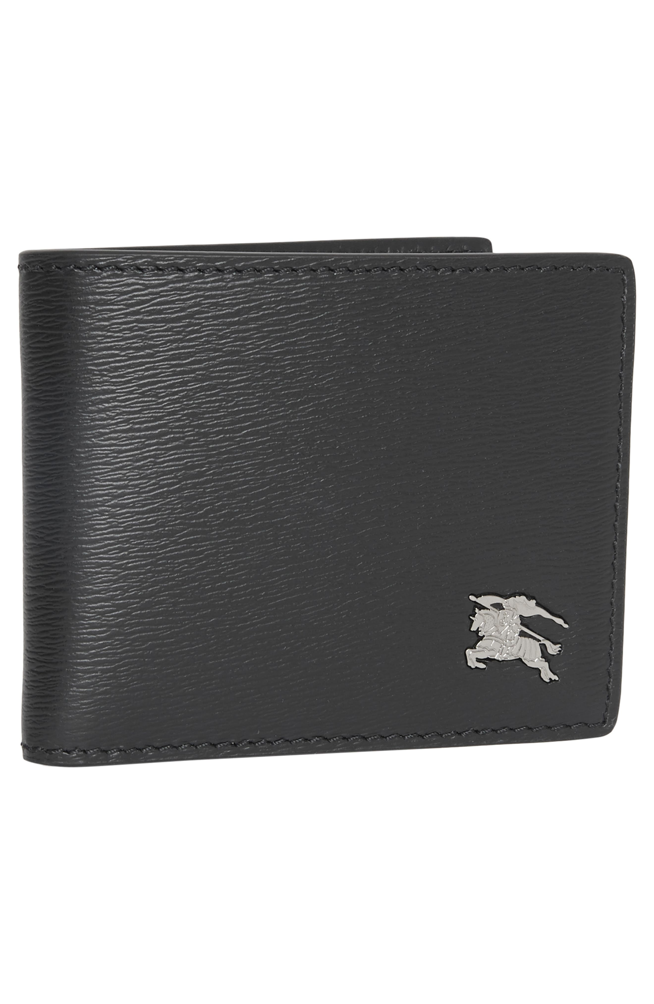 BURBERRY, Leather Bifold Wallet, Alternate thumbnail 5, color, 001