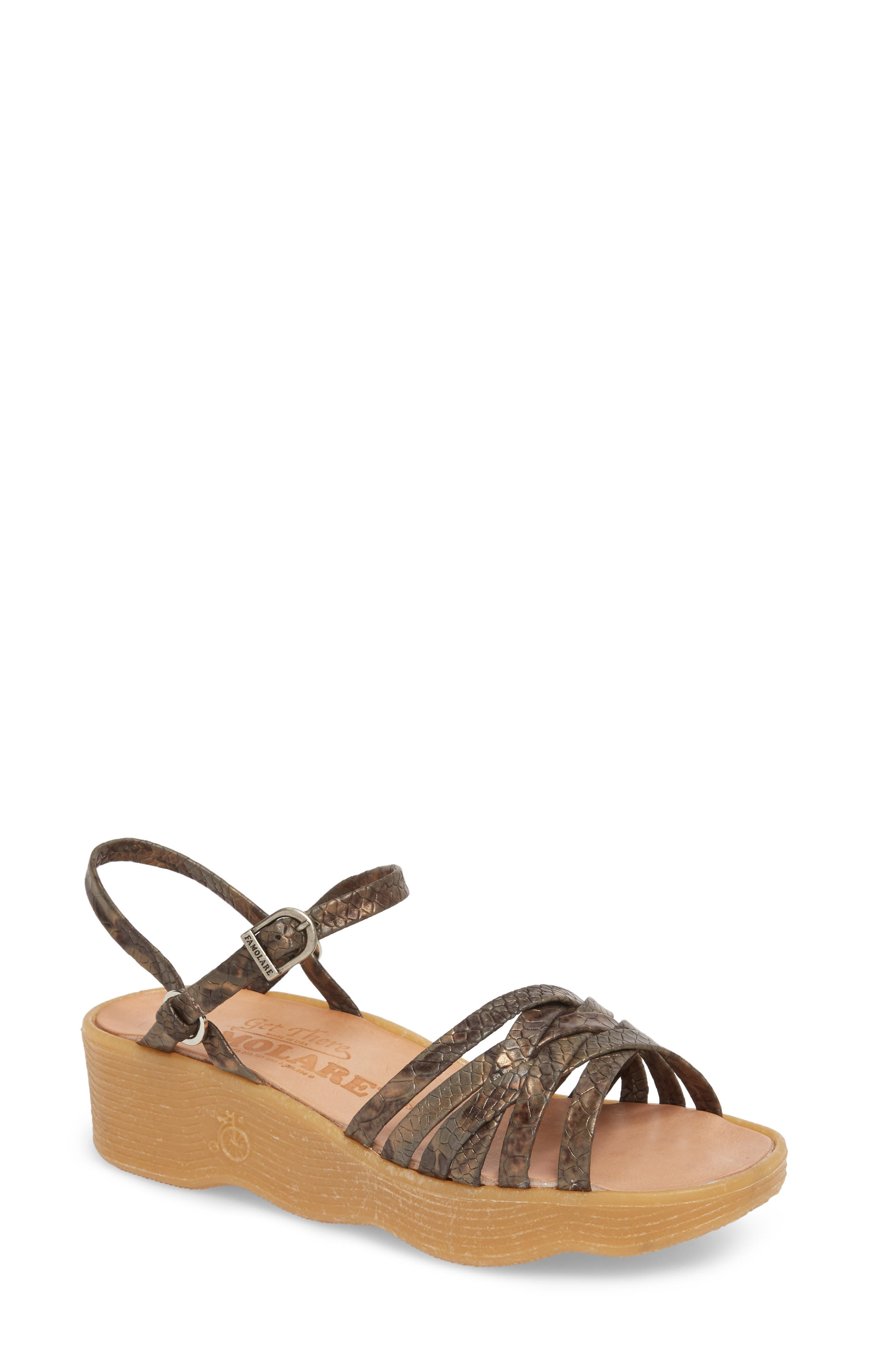 FAMOLARE, Strappy Camper Sandal, Main thumbnail 1, color, SNAKE PRINT LEATHER