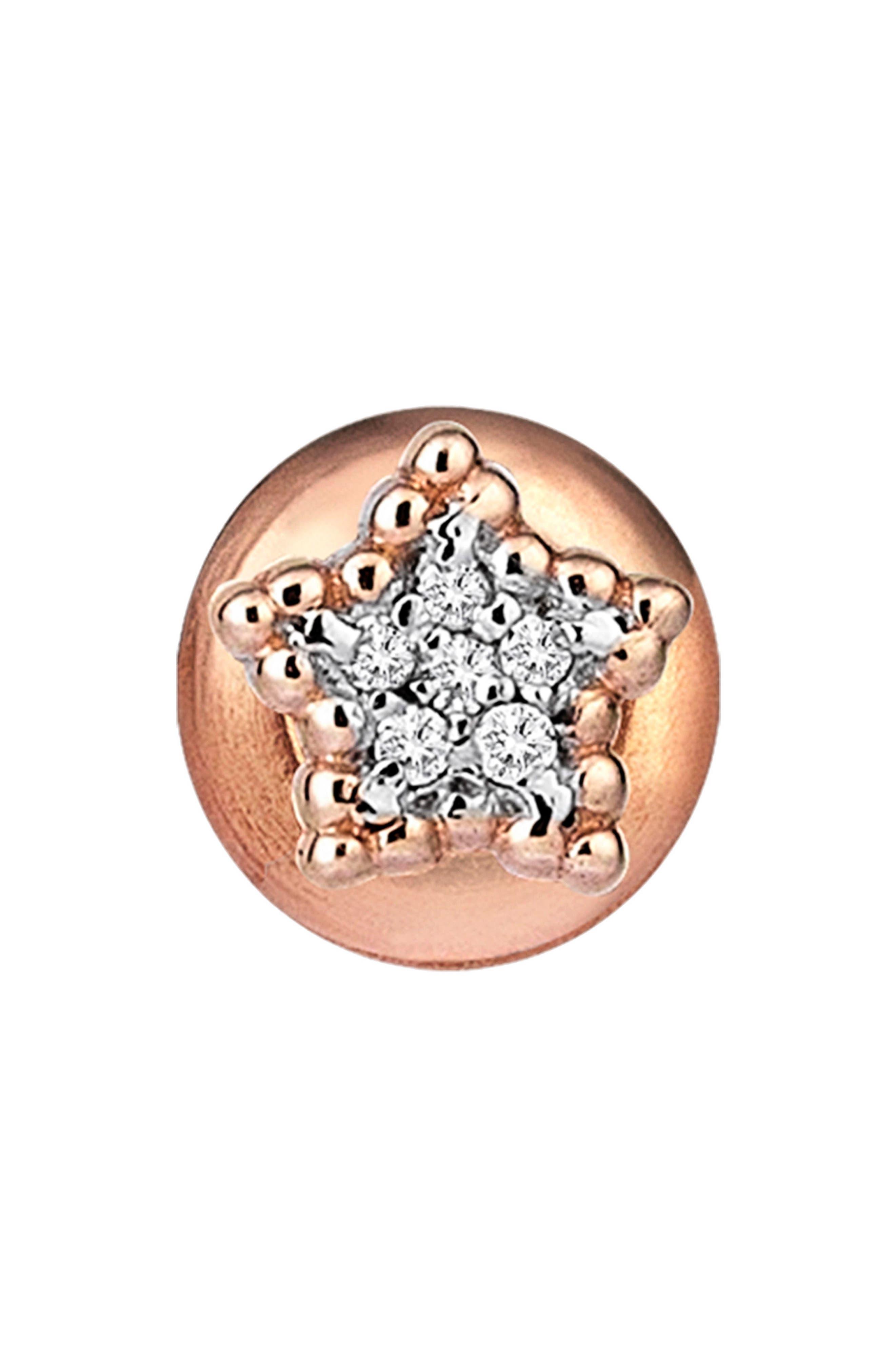KISMET BY MILKA, Diamond Stud Earring, Main thumbnail 1, color, ROSE GOLD