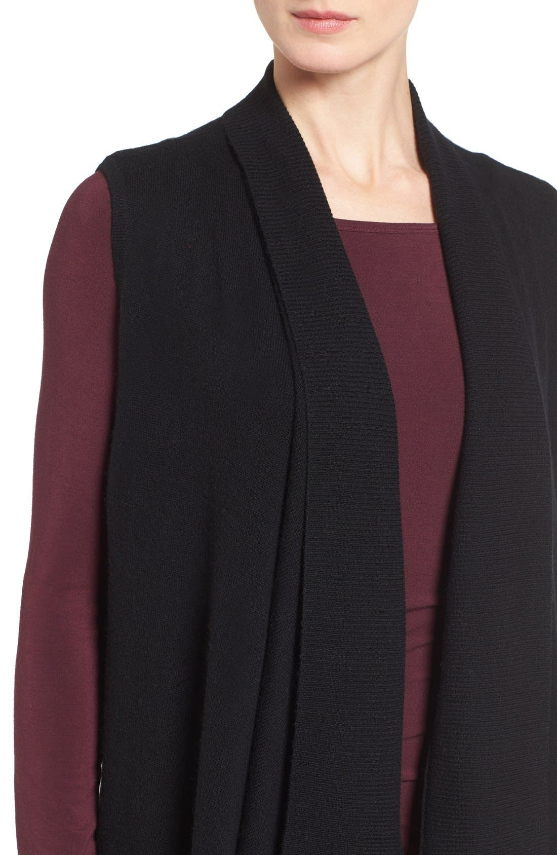 HALOGEN<SUP>®</SUP>, Wool & Cashmere Drape Front Sweater Vest, Alternate thumbnail 9, color, BLACK