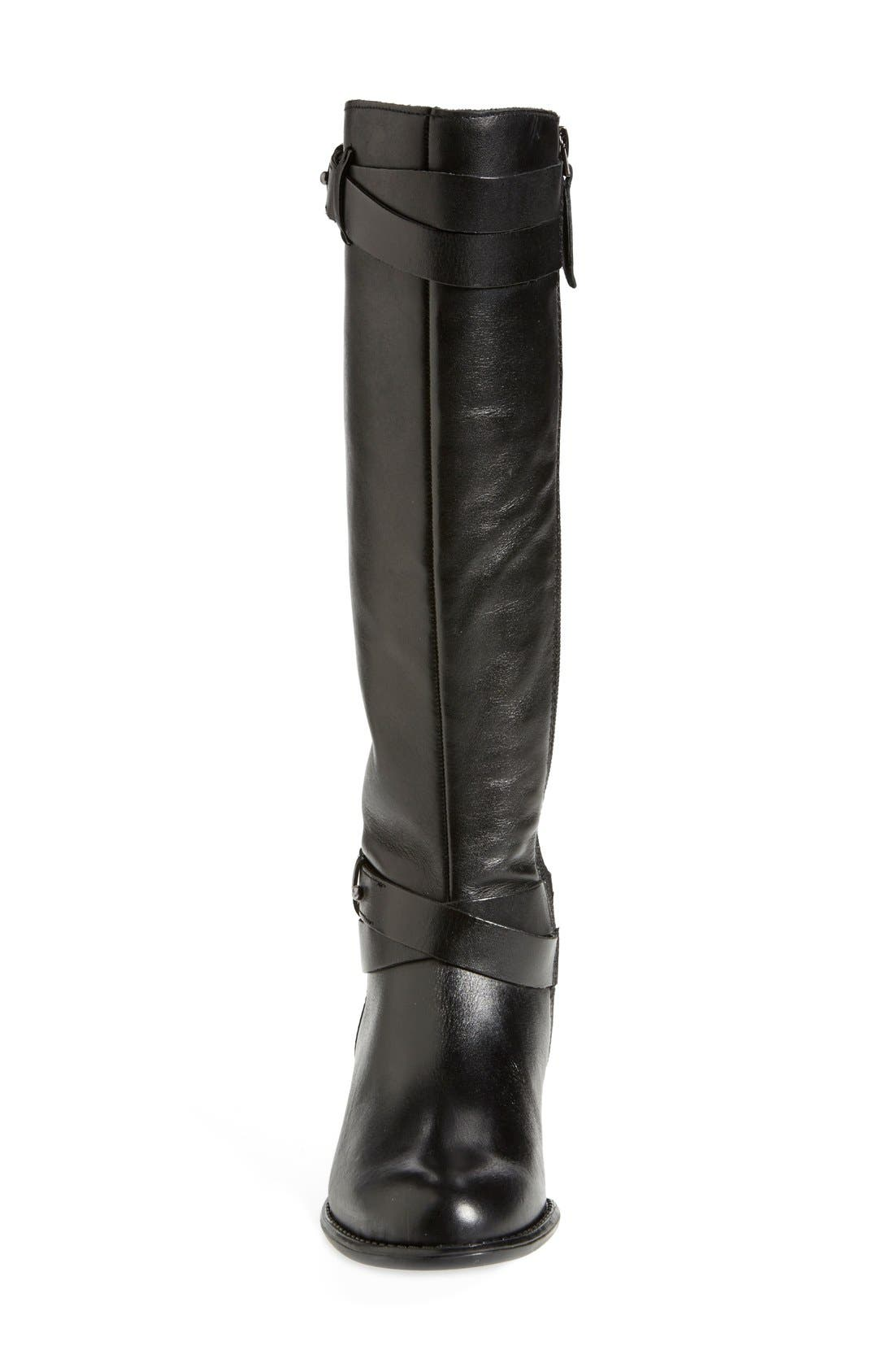 FRANCO SARTO, 'Canary' Leather Riding Boot, Alternate thumbnail 3, color, 001