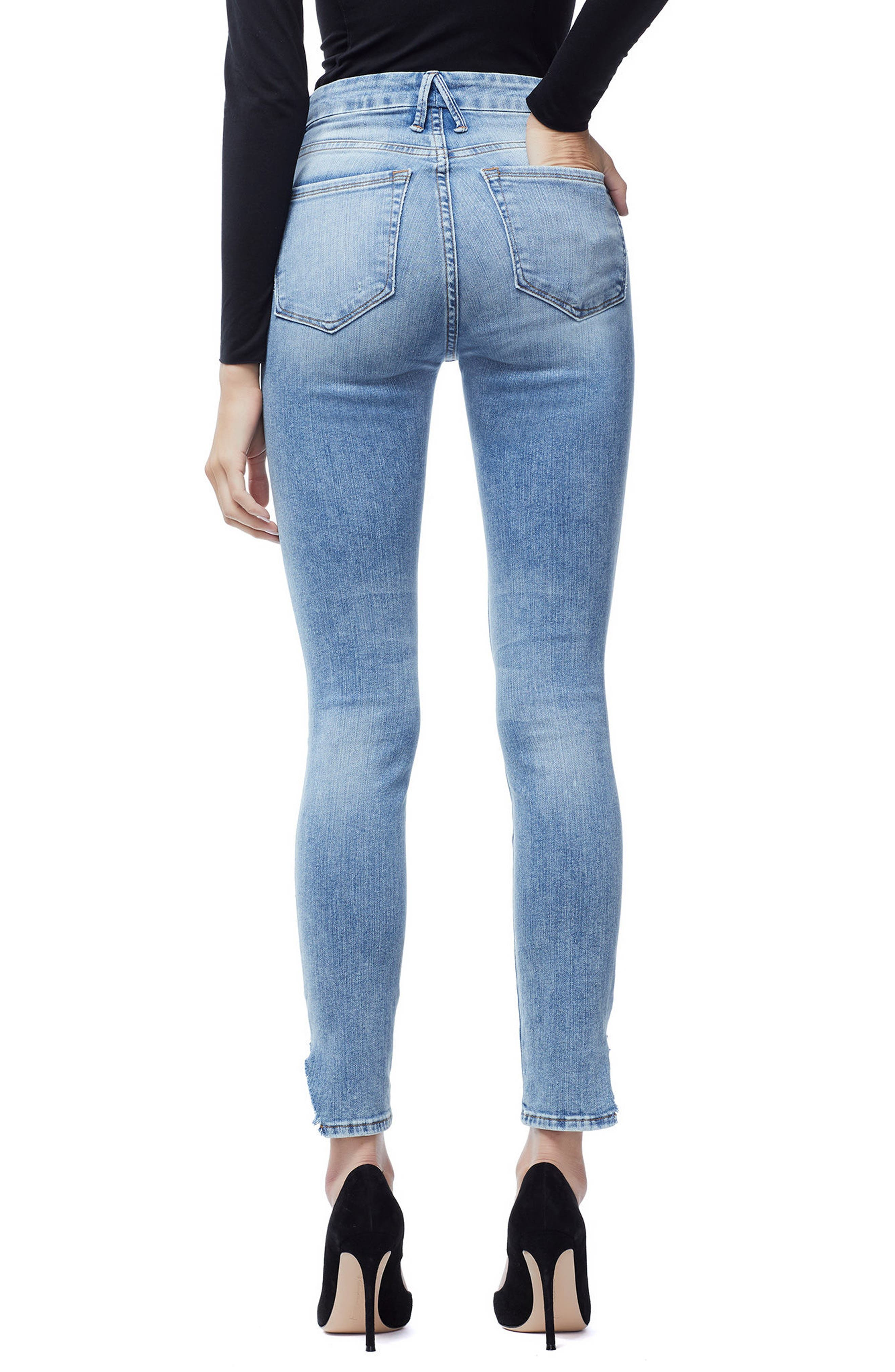 GOOD AMERICAN, Good Waist Side Triangle Crop Skinny Jeans, Alternate thumbnail 4, color, BLUE 160