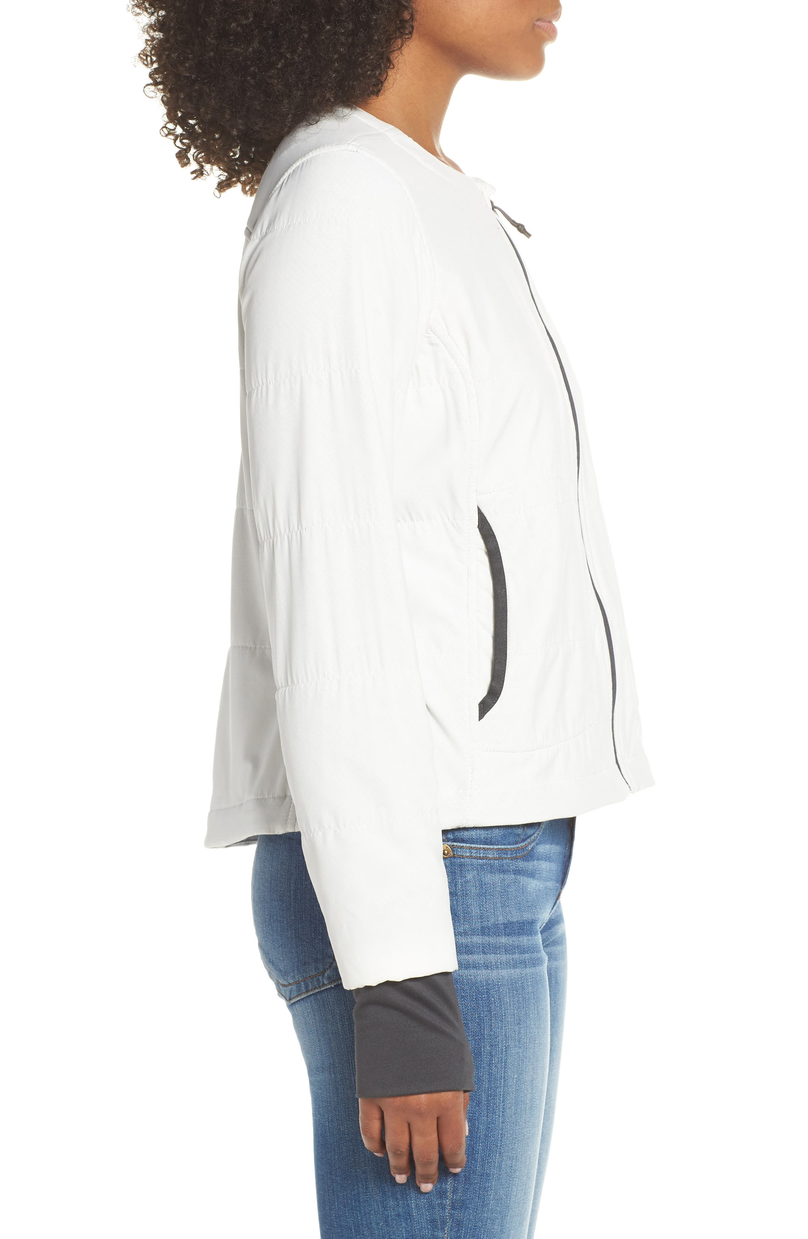 THE NORTH FACE, Mountain Insulated Collarless Zip Jacket, Alternate thumbnail 4, color, 050