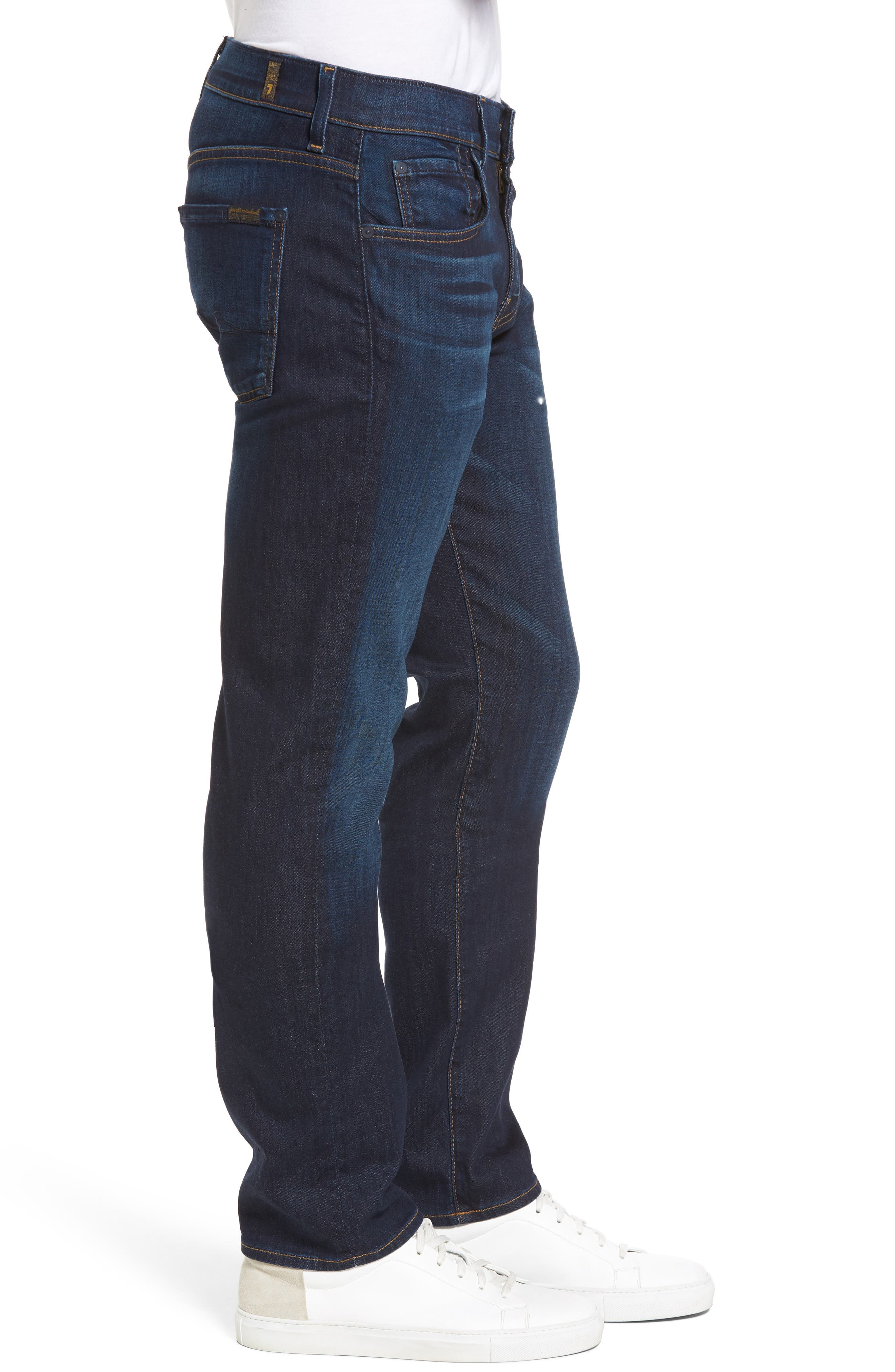 7 FOR ALL MANKIND<SUP>®</SUP>, Luxe Performance Straight Leg Jeans, Alternate thumbnail 4, color, NORTH PACIFIC