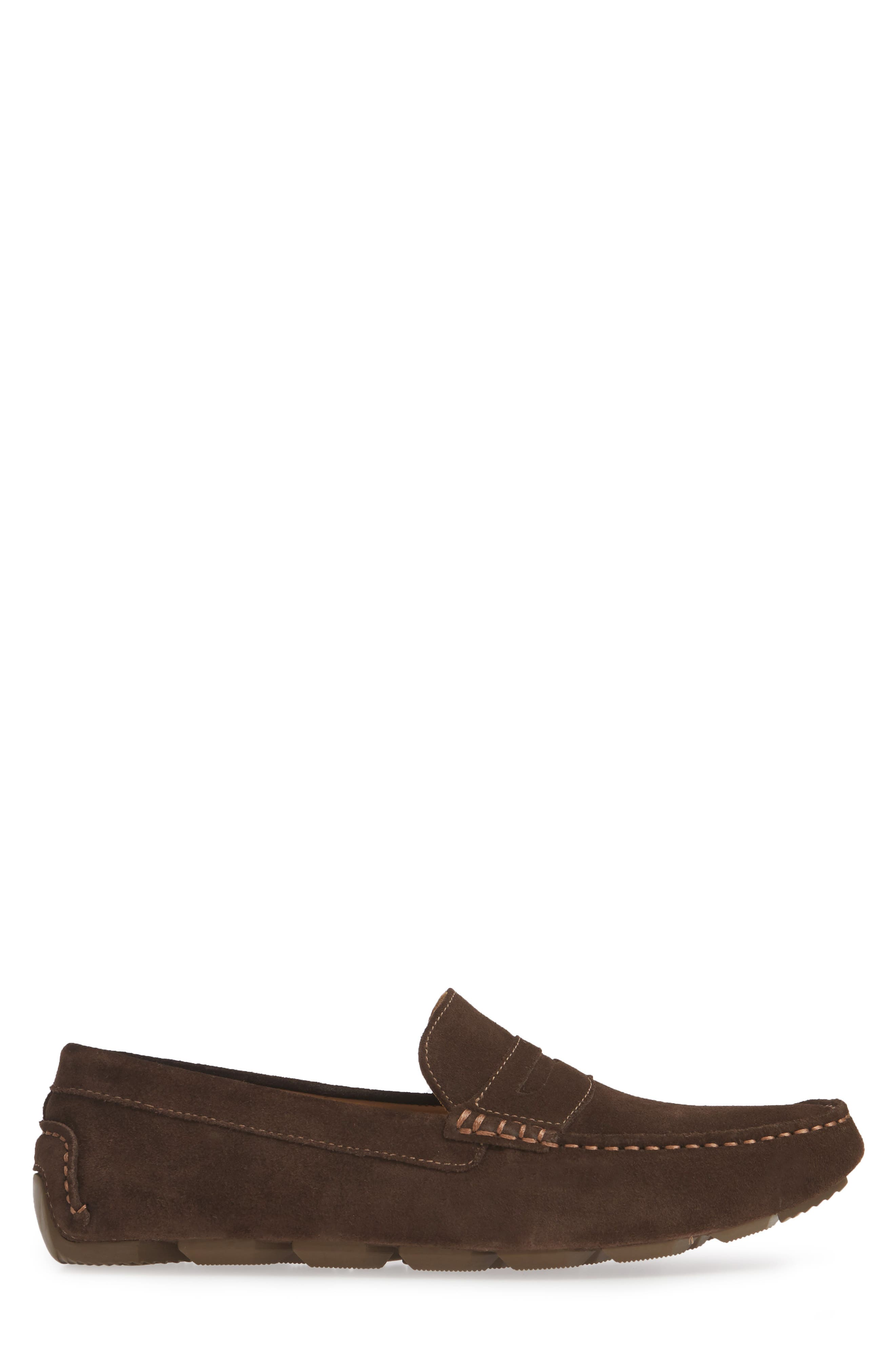 1901, Bermuda Penny Loafer, Alternate thumbnail 3, color, BROWN SUEDE