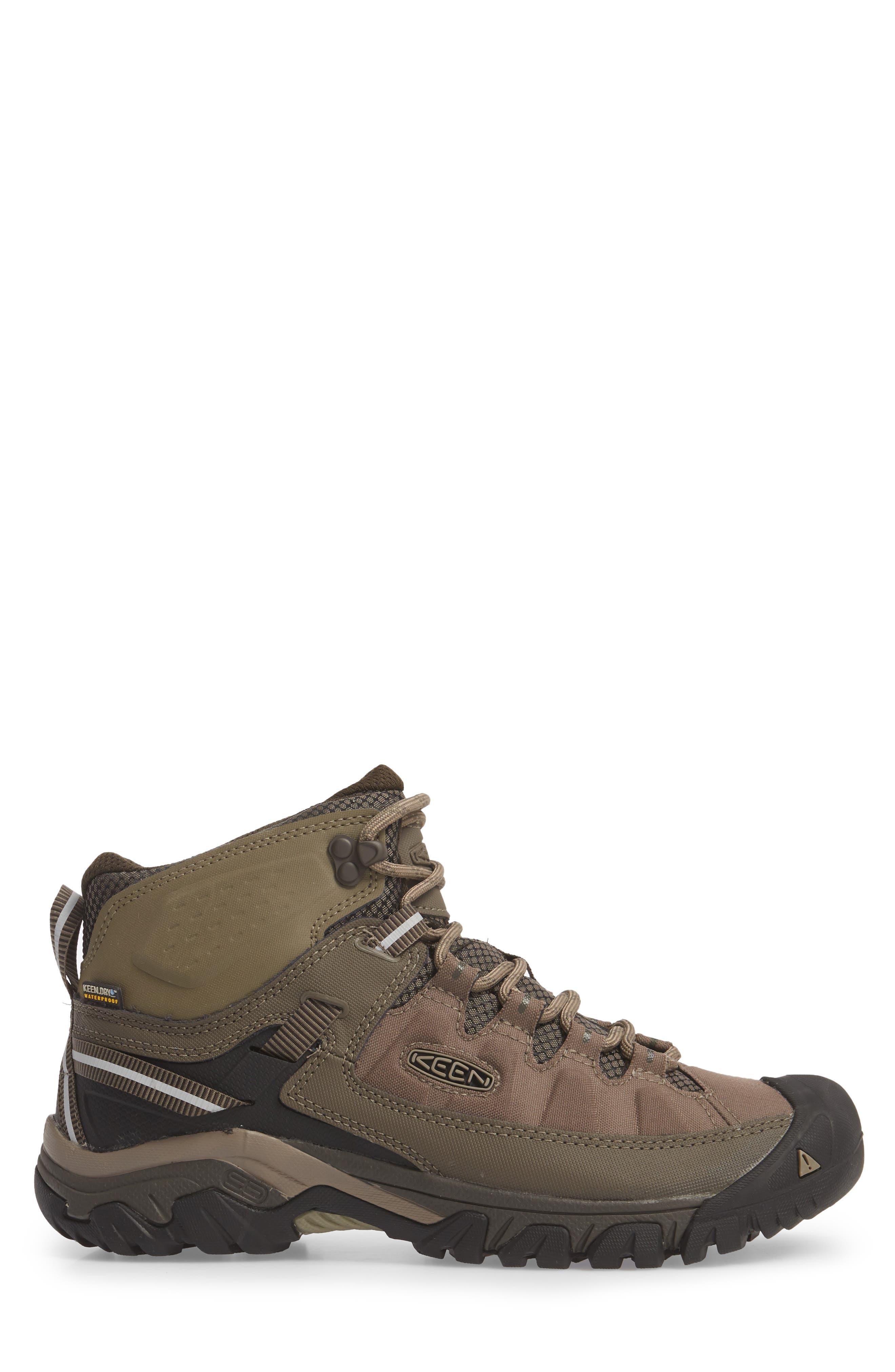 KEEN, Targhee EXP Mid Waterproof Hiking Boot, Alternate thumbnail 3, color, BUNGEE CORD/BRINDLE
