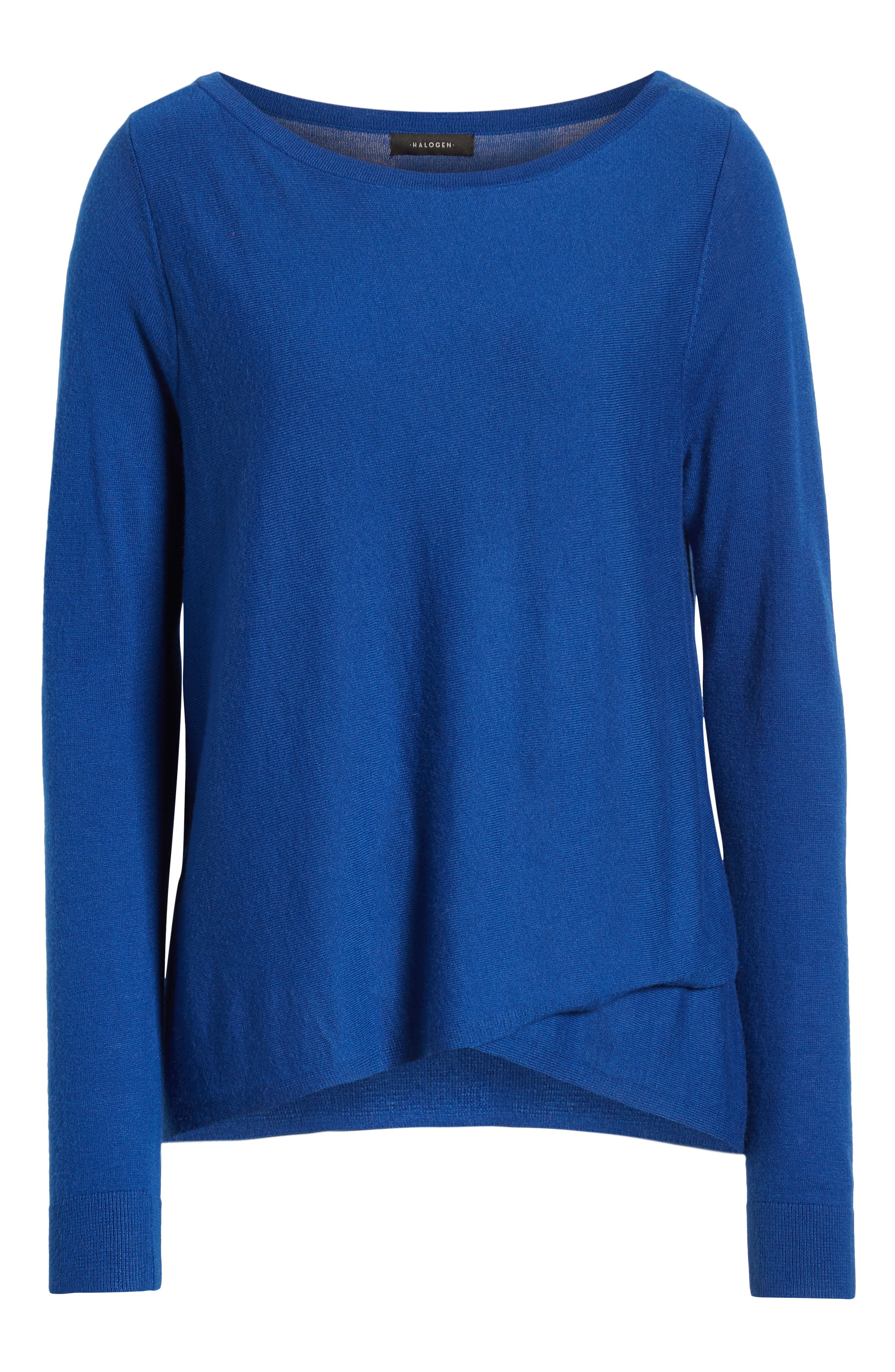 HALOGEN<SUP>®</SUP>, Crossover Front Knit Sweater, Alternate thumbnail 6, color, BLUE MAZARINE