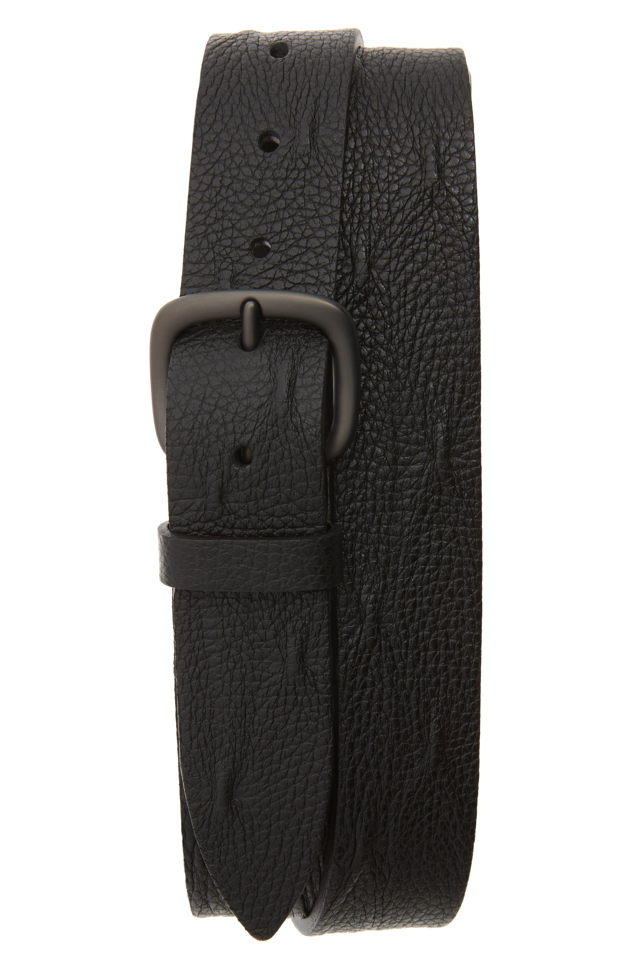 ORCIANI, Micron Pebbled Leather Belt, Main thumbnail 1, color, 001