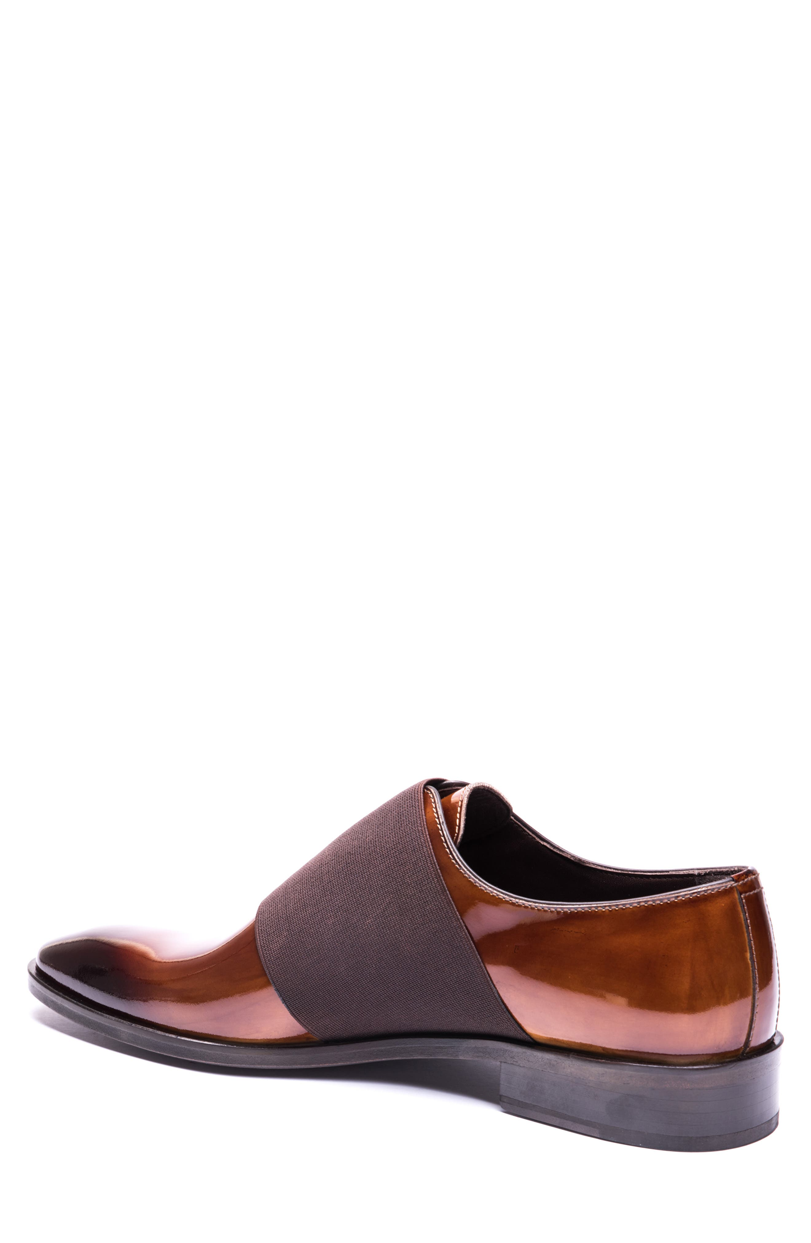 JARED LANG, Vincenzo Whole Cut Slip-On, Alternate thumbnail 2, color, BROWN LEATHER