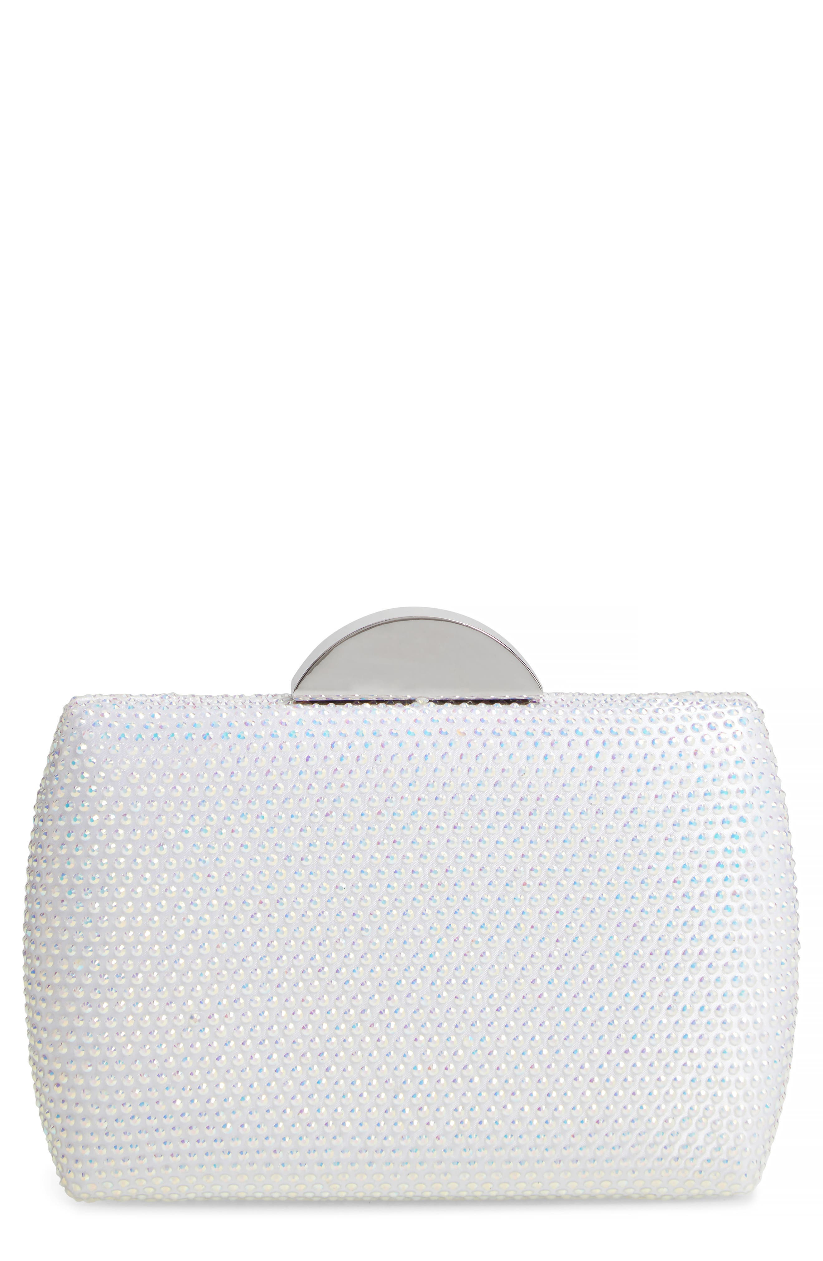 NINA Pacey Crystal Minaudière, Main, color, WHITE AB