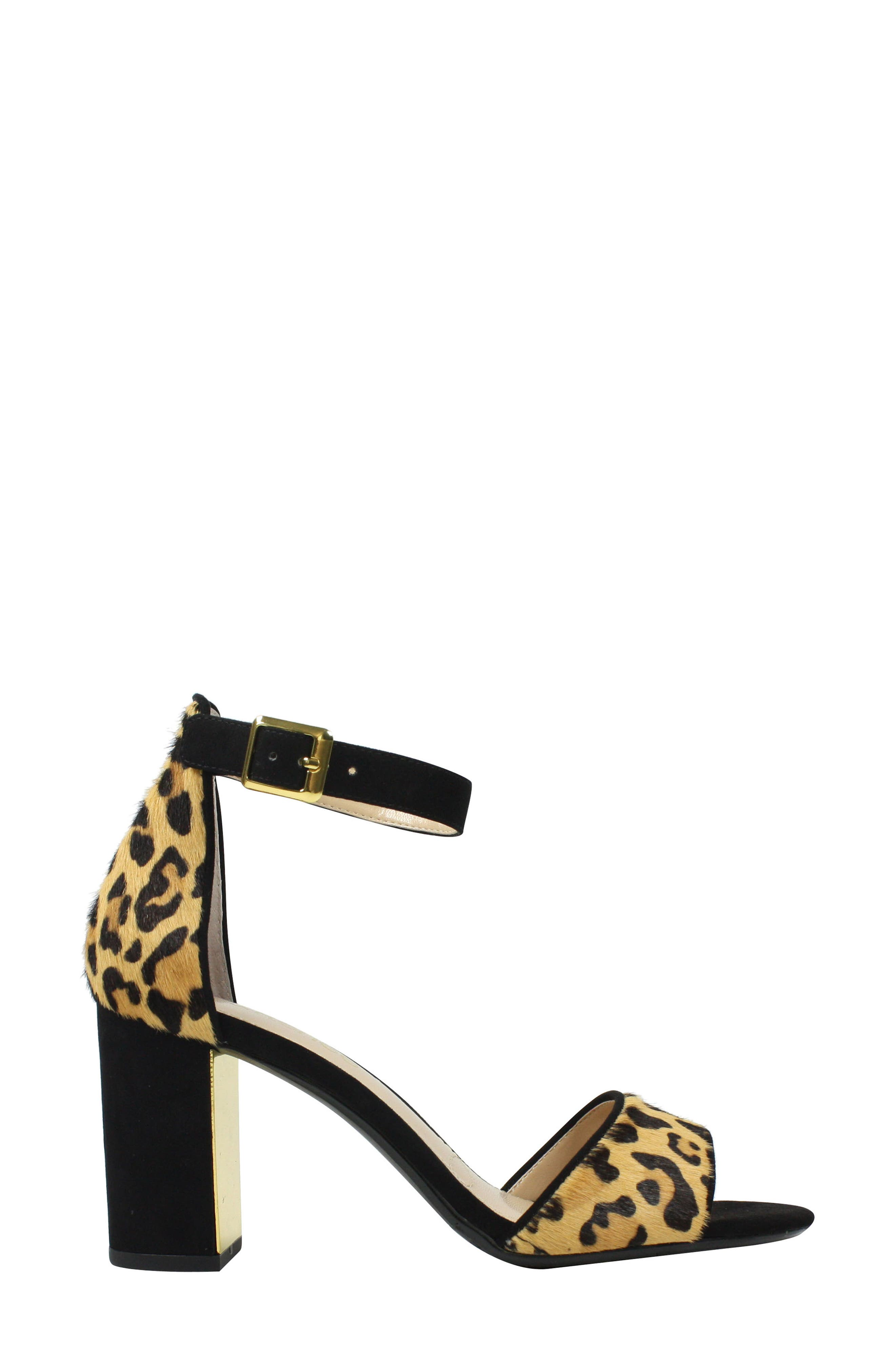 J. RENEÉ, Flaviana Ankle Strap Sandal, Alternate thumbnail 3, color, BLACK/ BROWN CALF HAIR