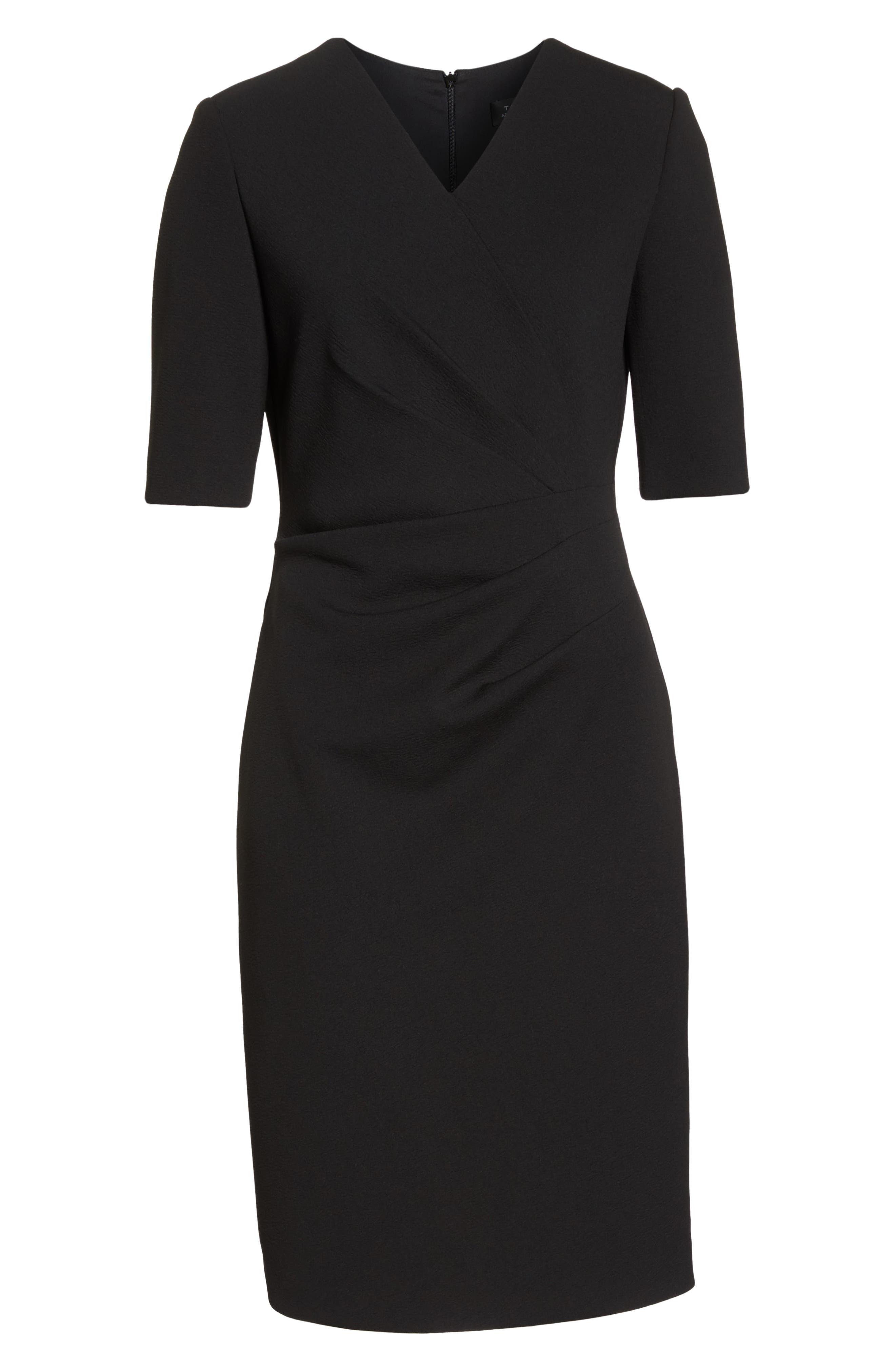 TAHARI, Scuba Crepe Sheath Dress, Alternate thumbnail 7, color, BLACK