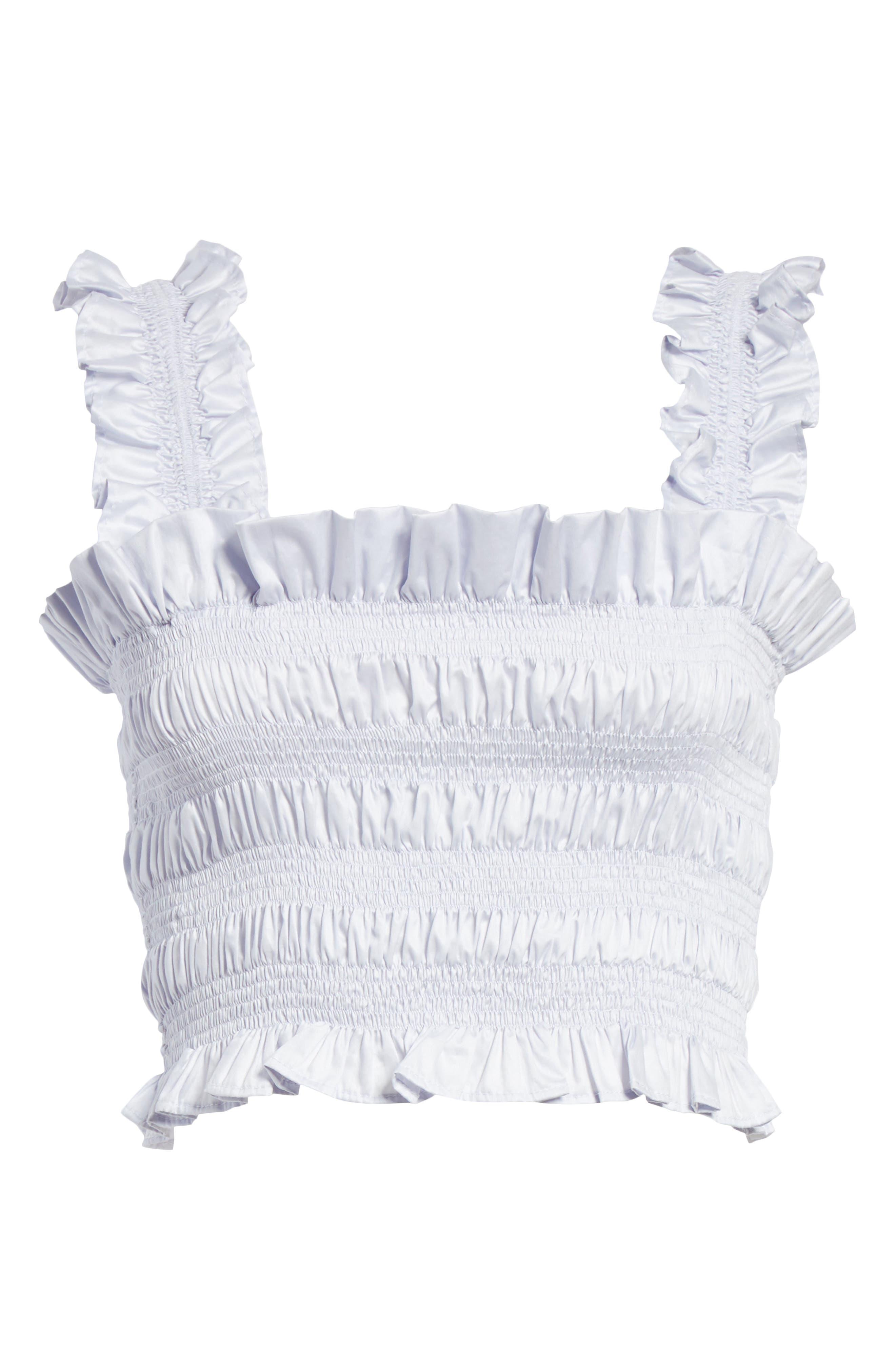 REBECCA TAYLOR, Smocked Sleeveless Cotton Top, Alternate thumbnail 6, color, 458