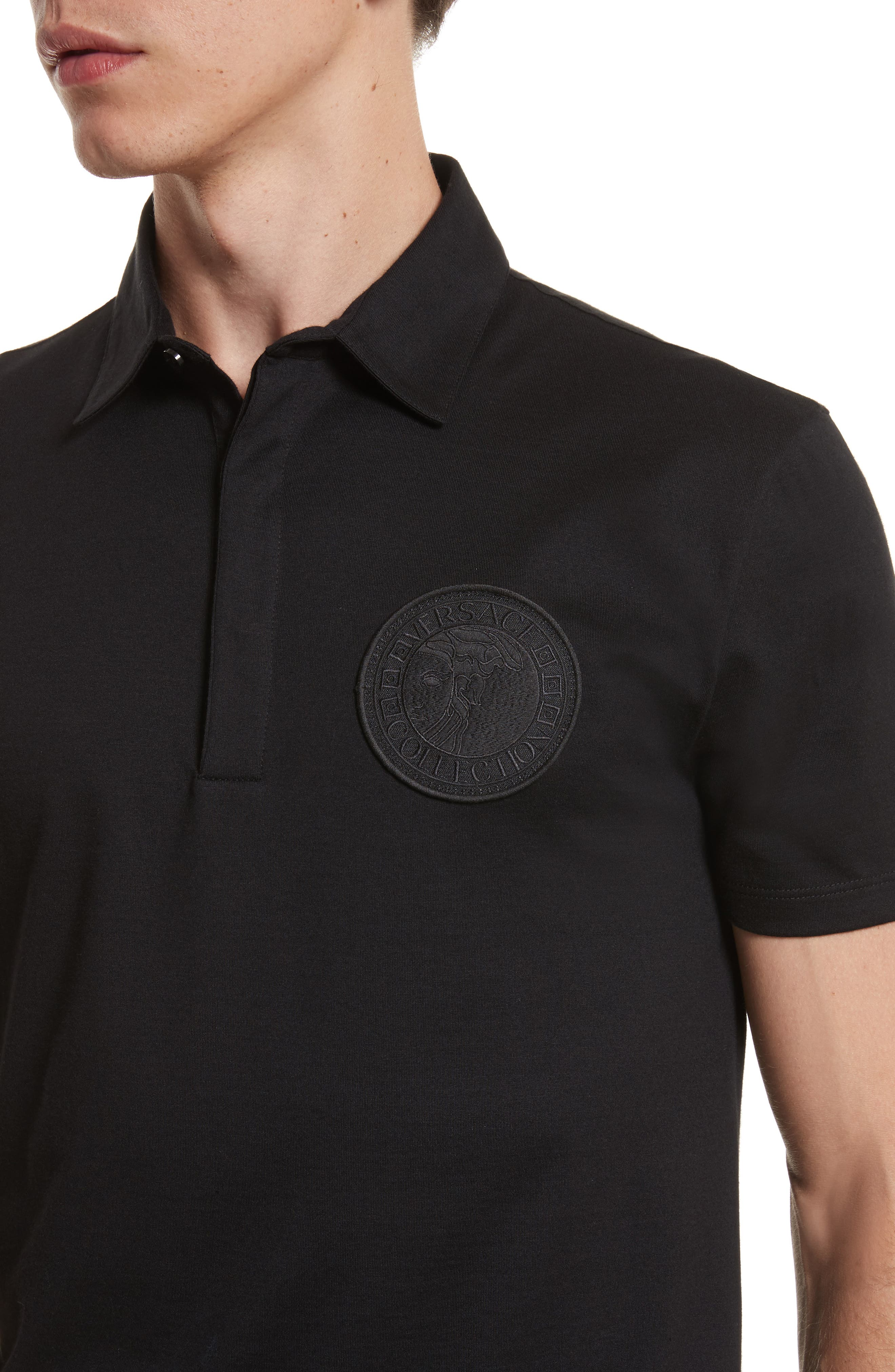 VERSACE COLLECTION, Logo Patch Jersey Polo, Alternate thumbnail 4, color, 001