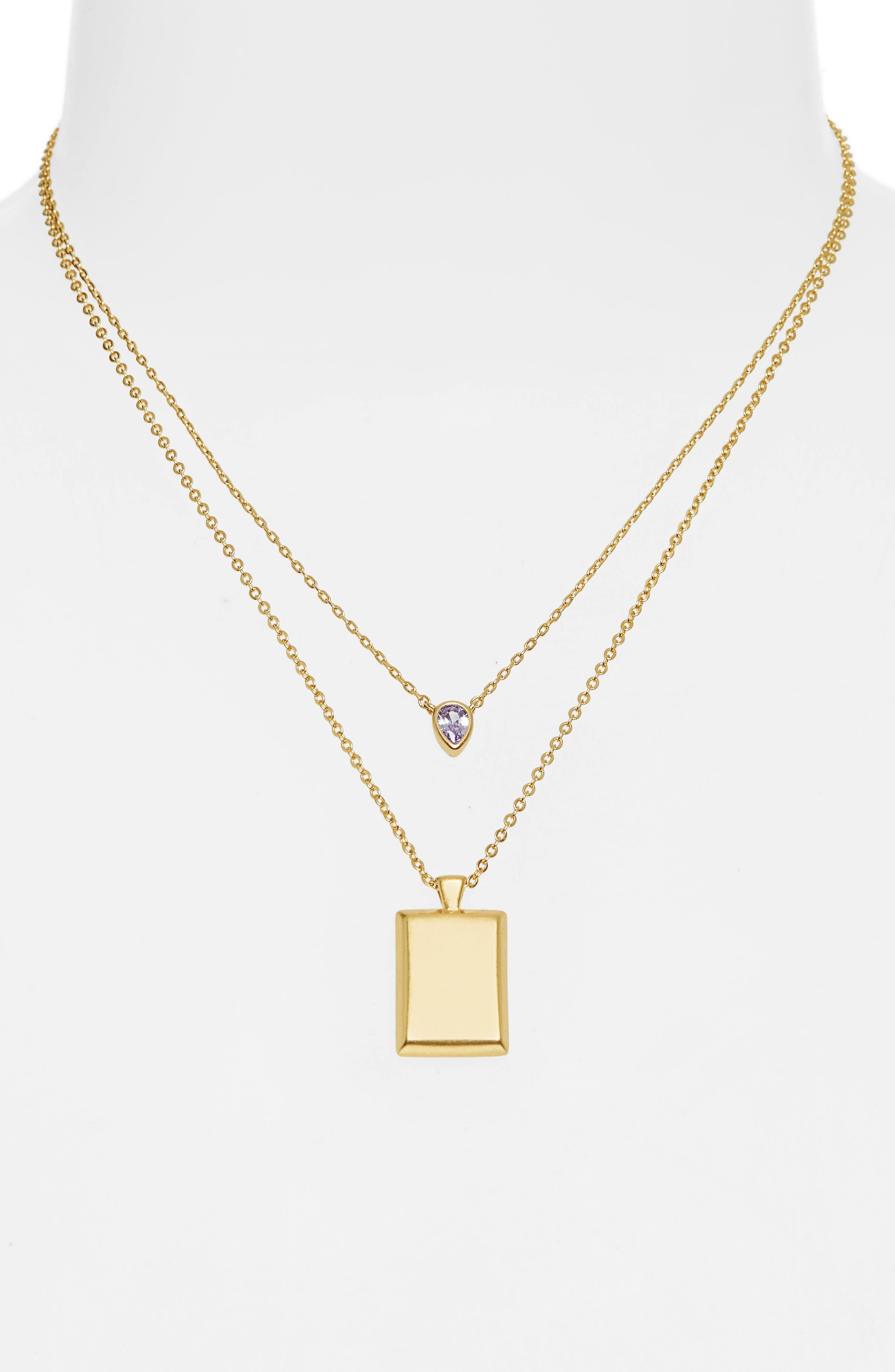 MADEWELL, Set of 2 Teardrop Pendant Necklaces, Alternate thumbnail 2, color, VINTAGE GOLD