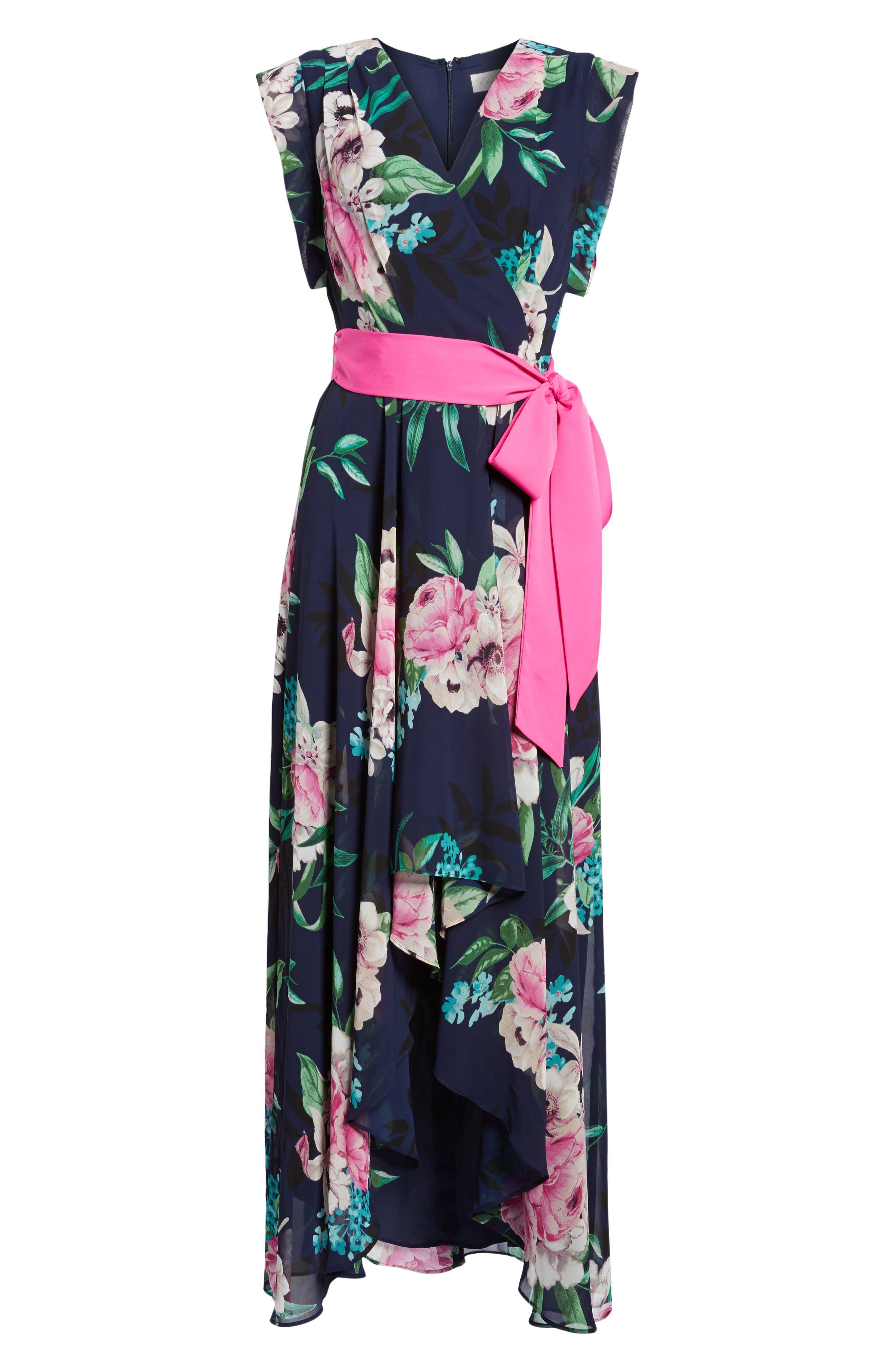ELIZA J, Floral Print Chiffon High/Low Dress, Main thumbnail 1, color, 470